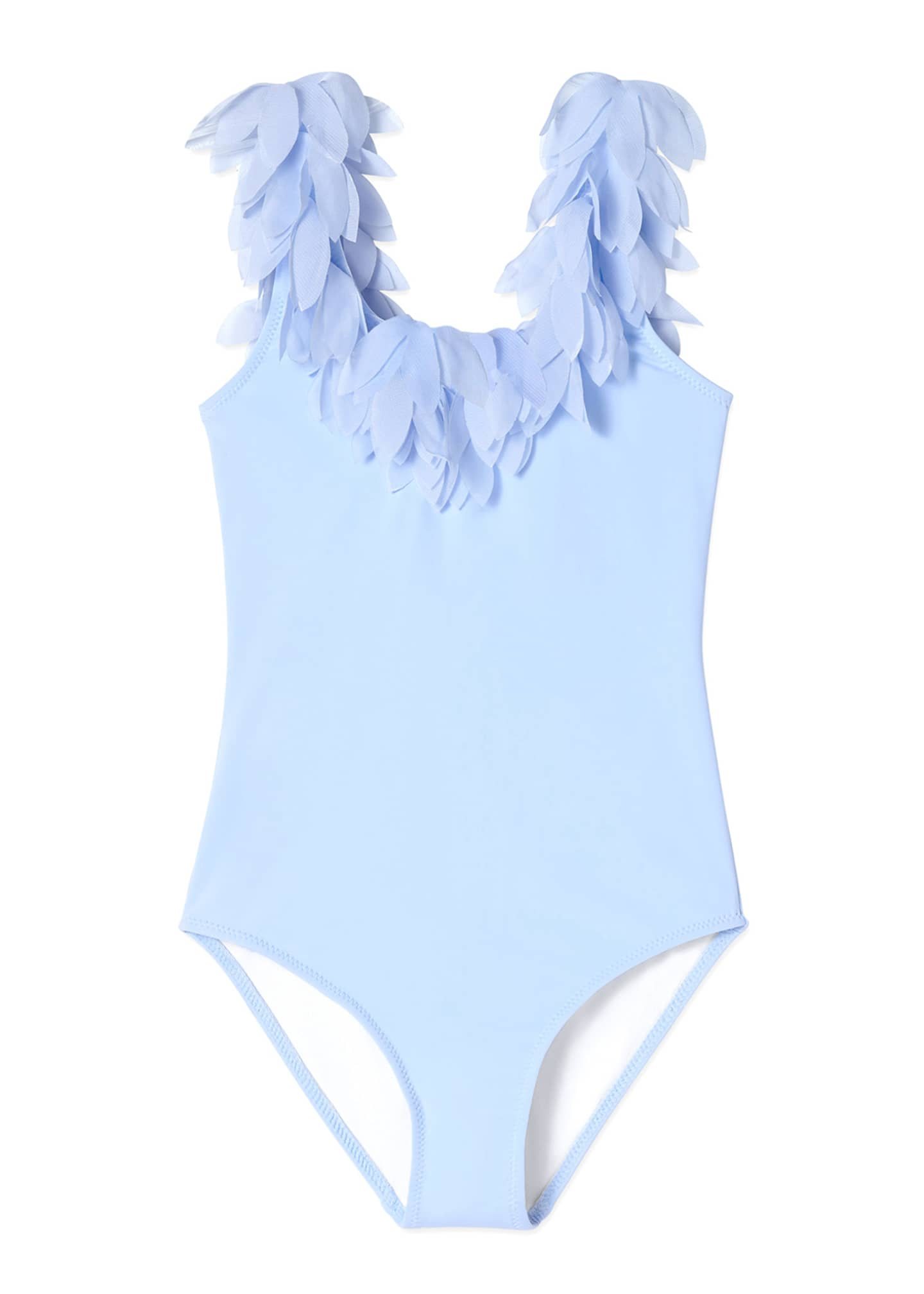 Image 1 of 1: Girl's Petal Trim One-Piece Swimsuit, Size 4-14