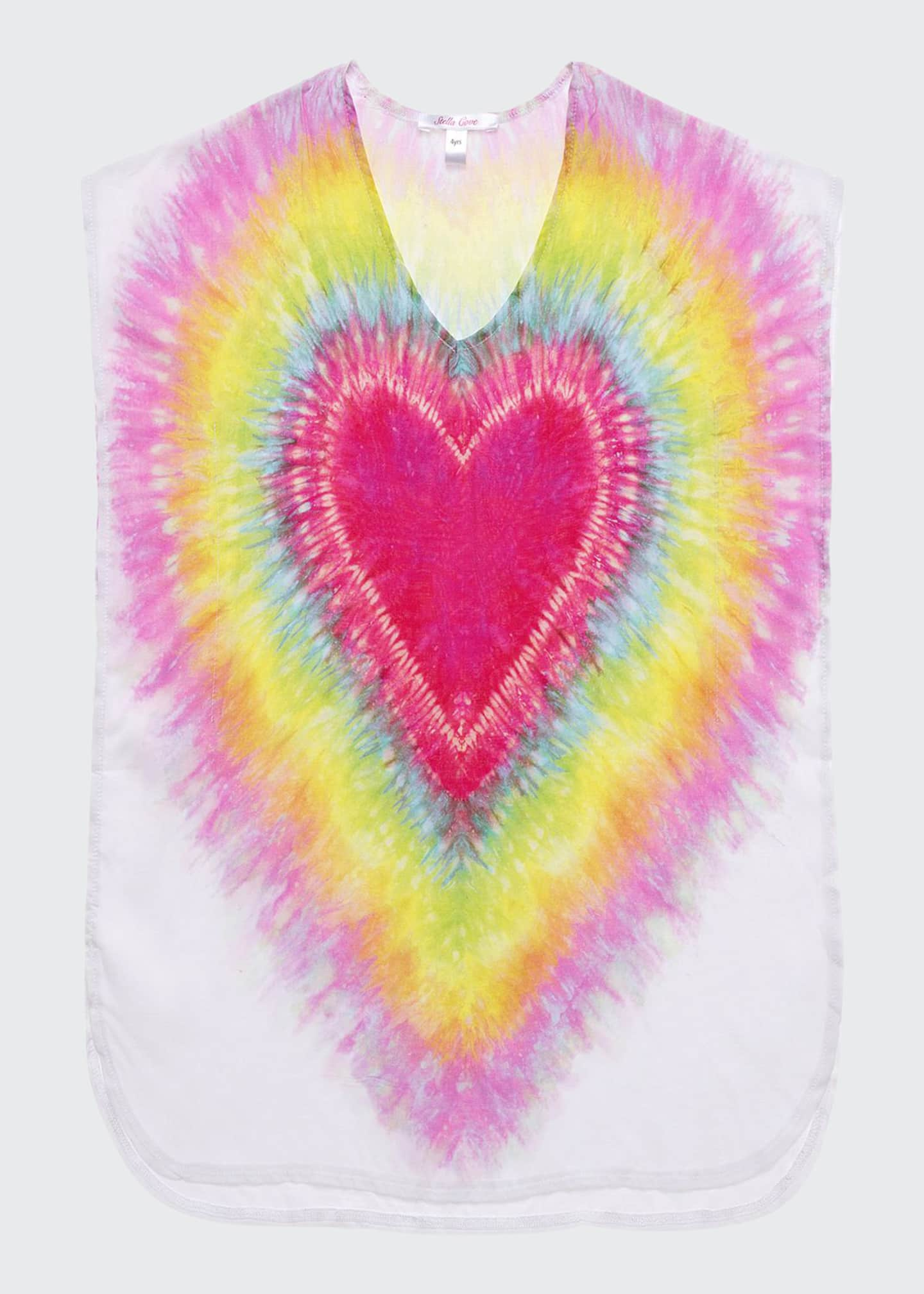Image 1 of 1: Girl's I Heart You Tie Dye Poncho Coverup, Size 2-14