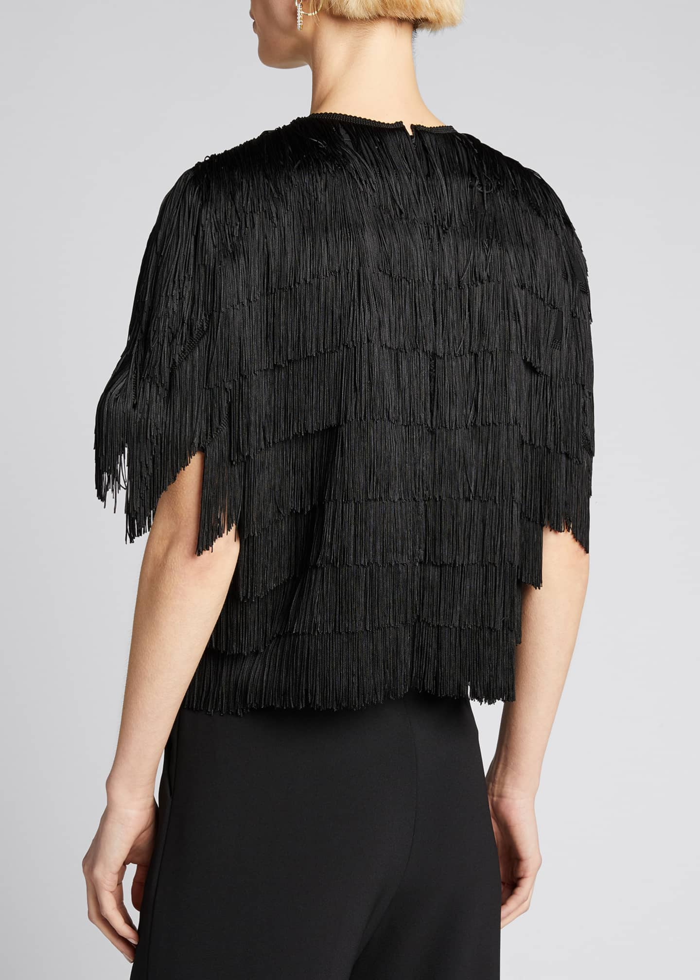 Image 2 of 5: Embroidered Fringe Fluid Crepe Short-Sleeve Top