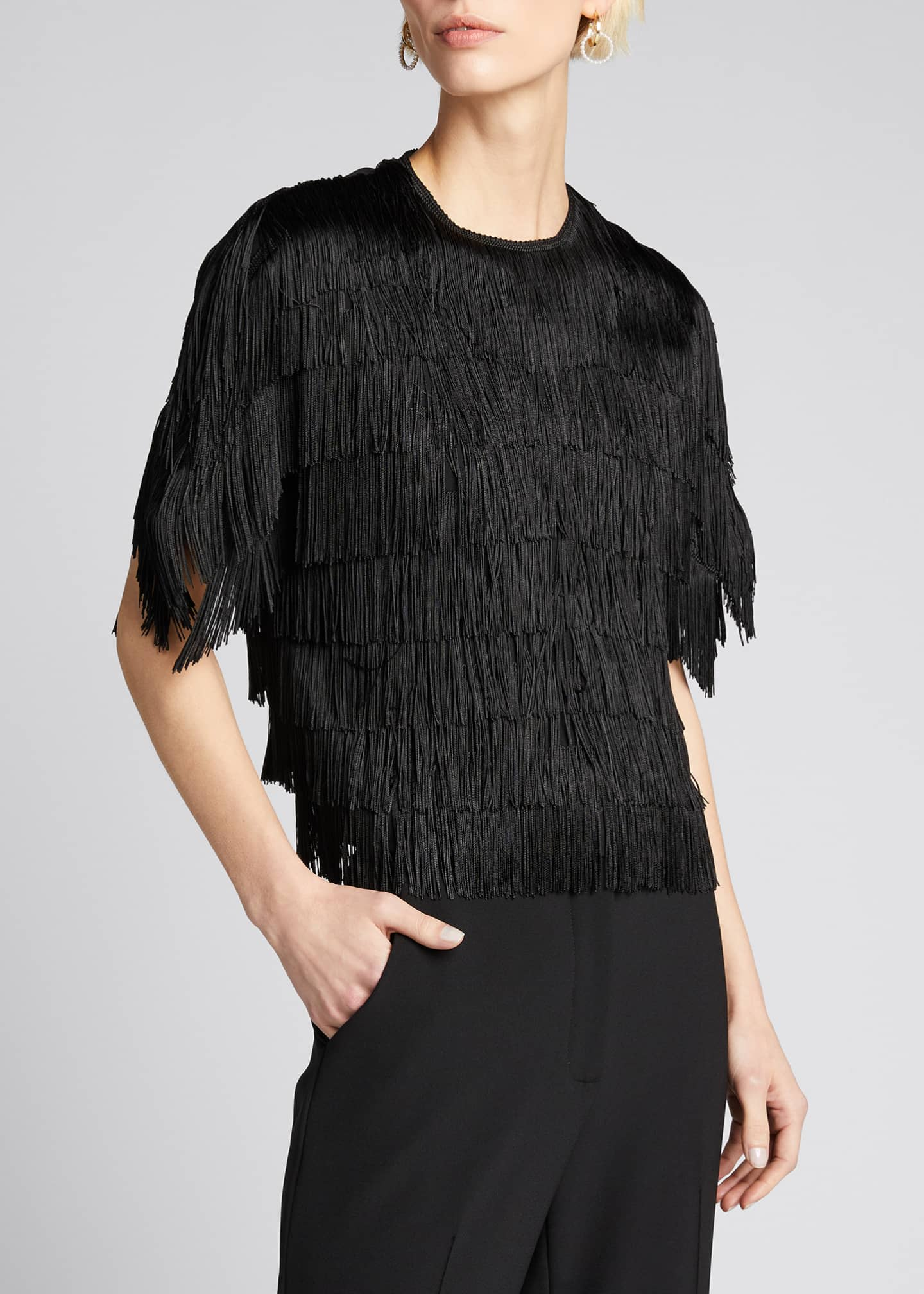 Image 3 of 5: Embroidered Fringe Fluid Crepe Short-Sleeve Top