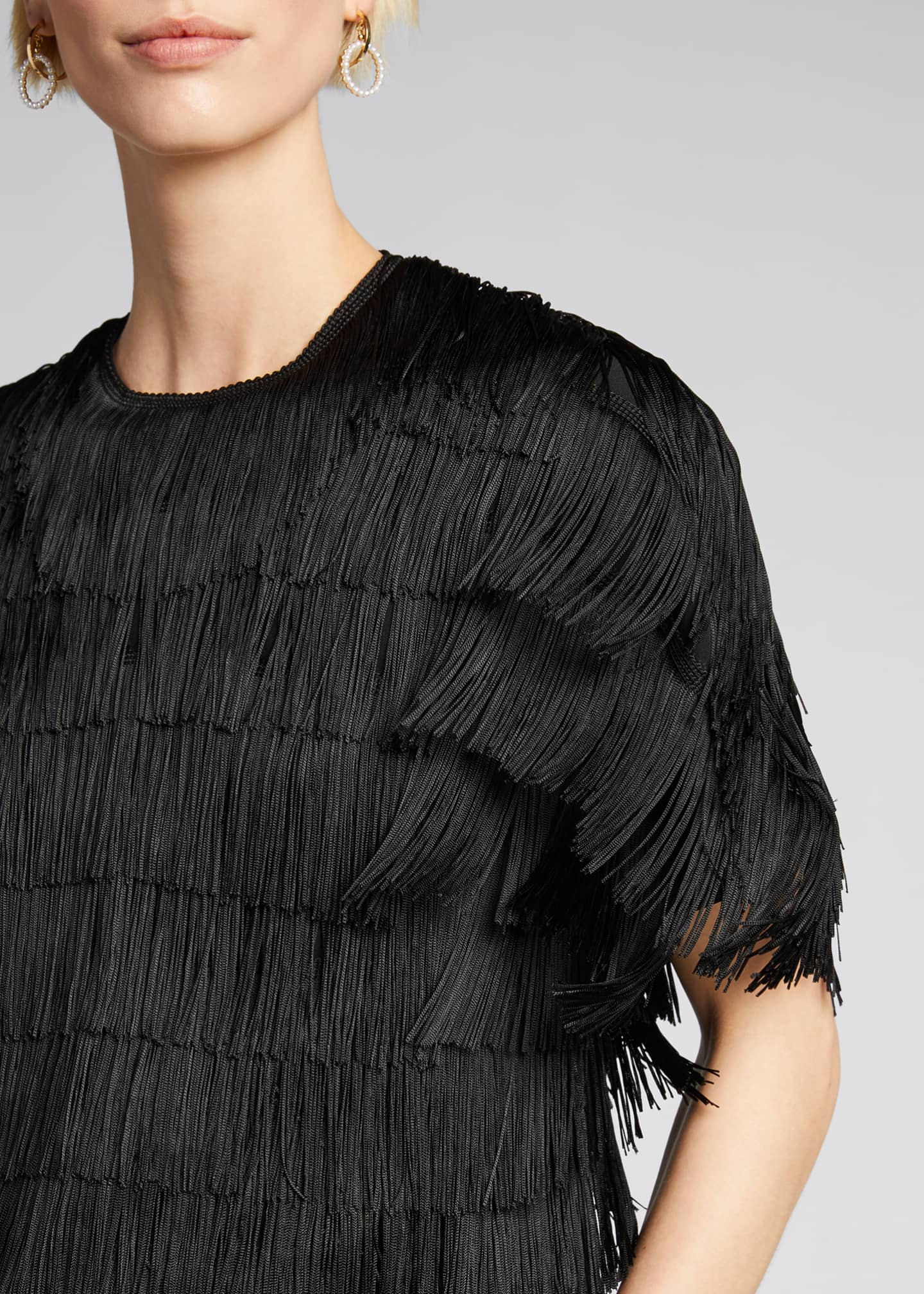 Image 4 of 5: Embroidered Fringe Fluid Crepe Short-Sleeve Top