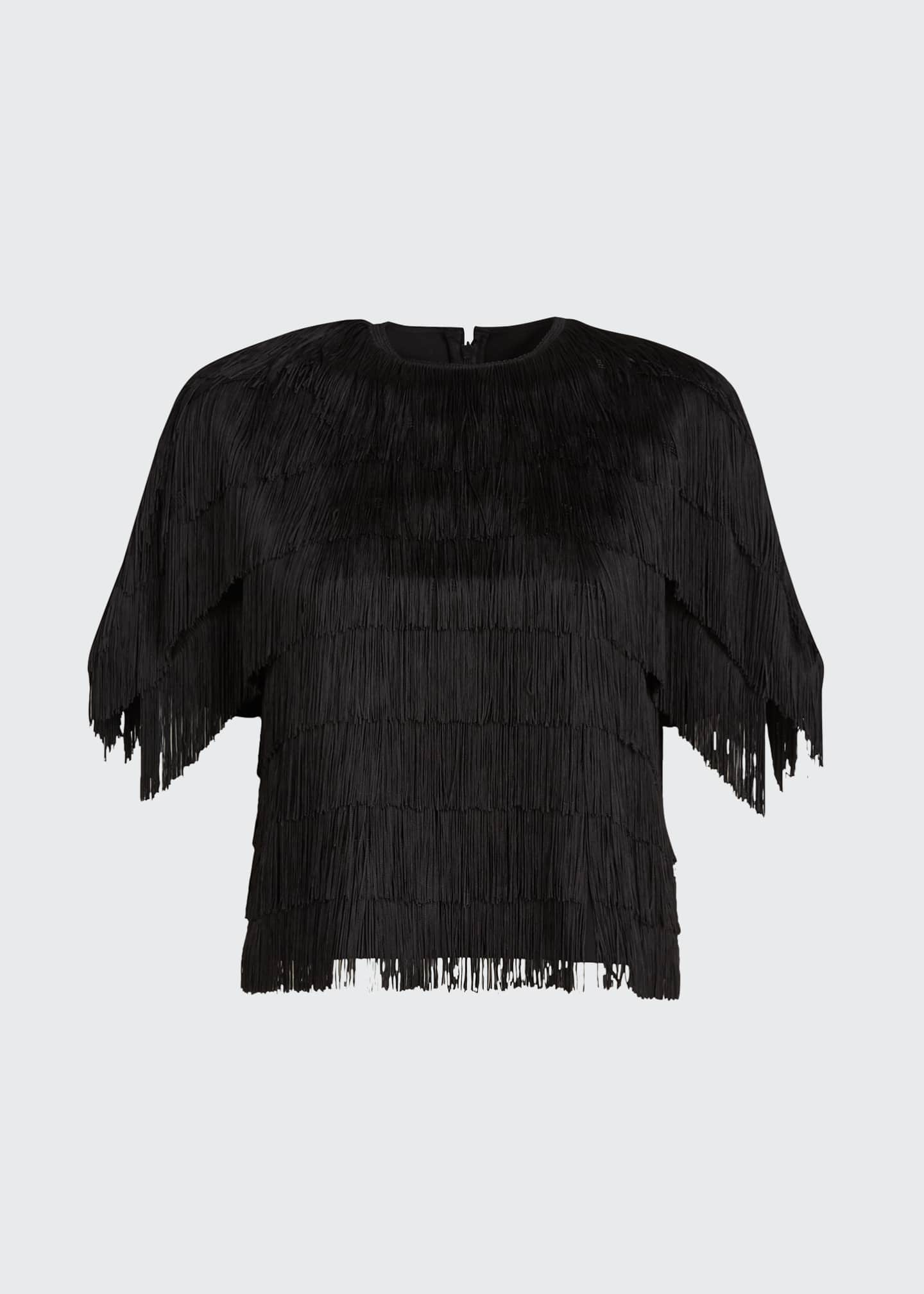 Image 5 of 5: Embroidered Fringe Fluid Crepe Short-Sleeve Top