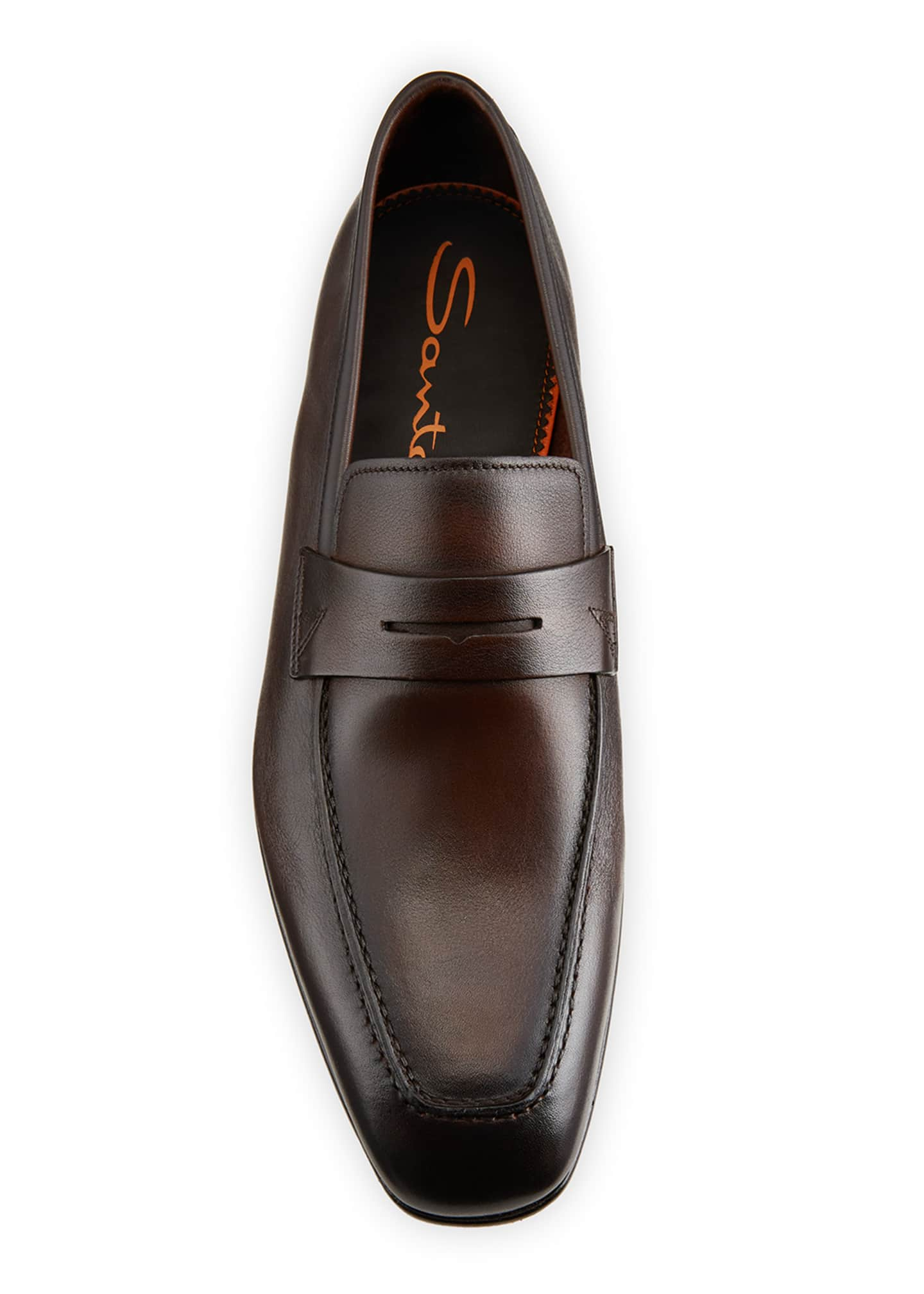 Image 3 of 4: Men's Imam Soft Burnished Leather Penny Loafers