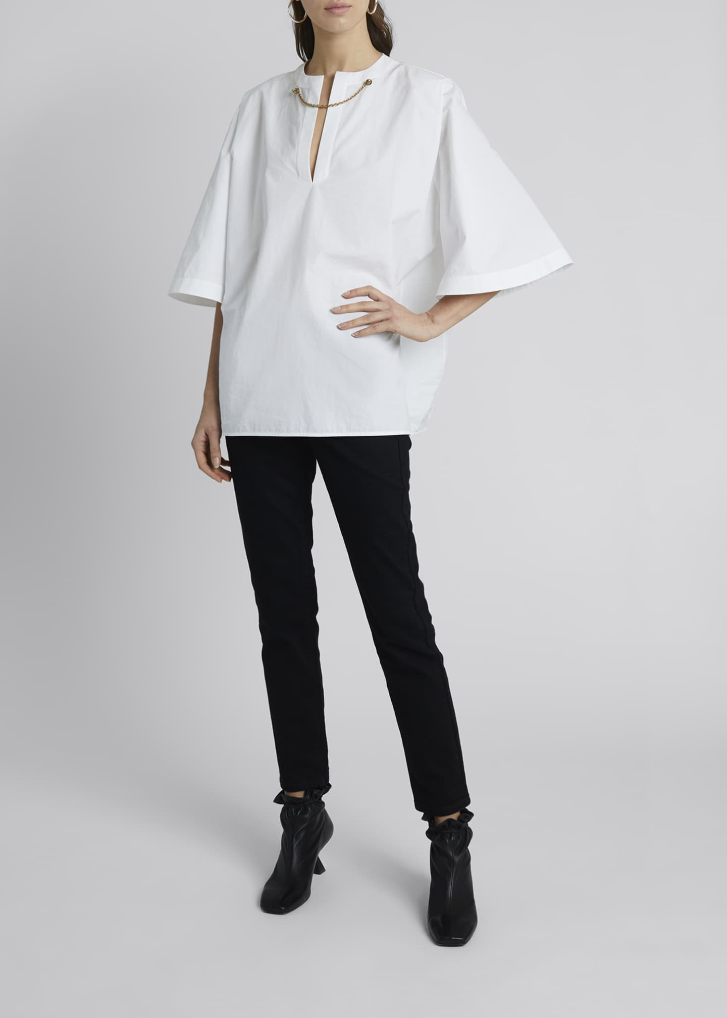 Image 3 of 4: Chain-Neck Poplin Tunic