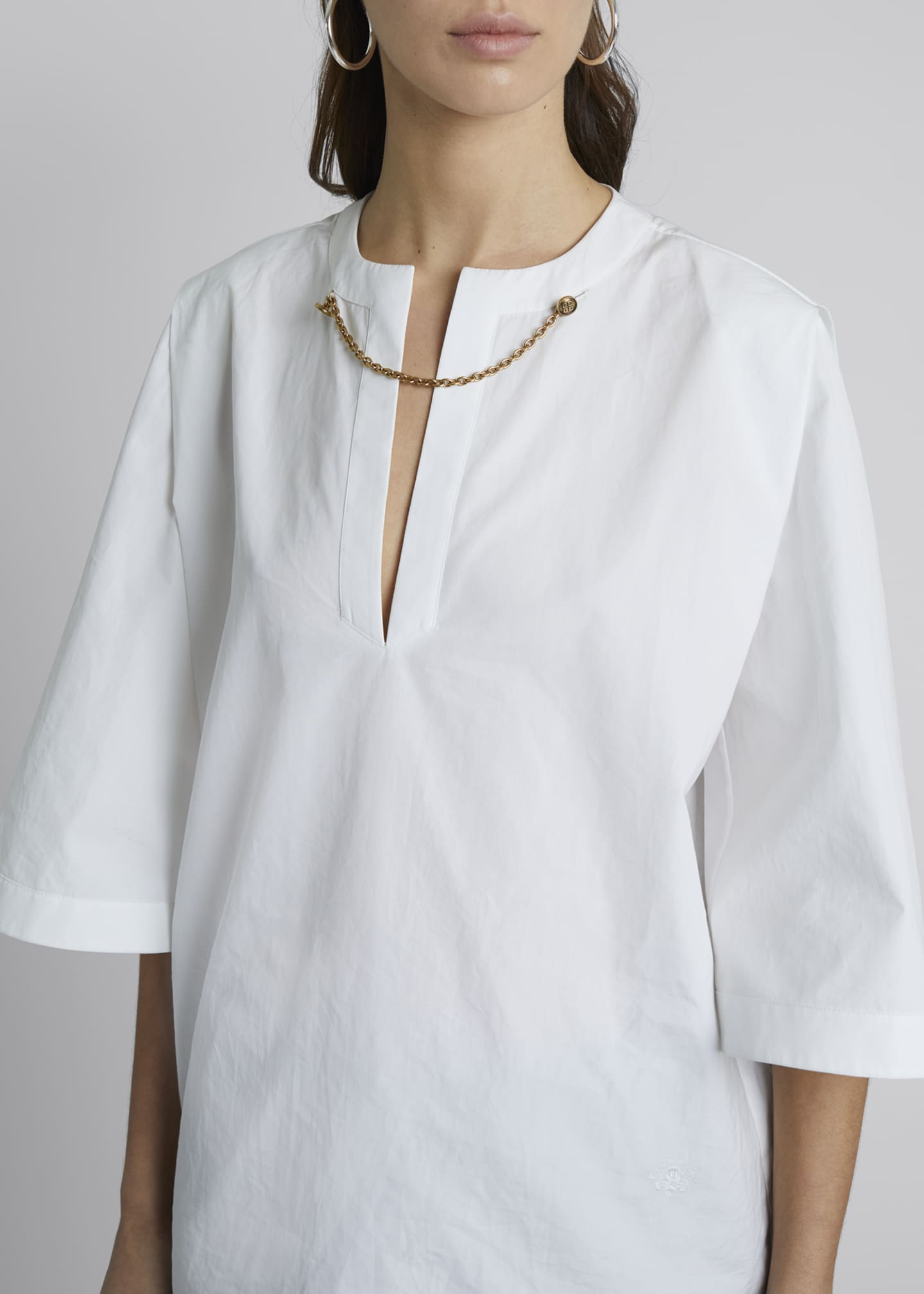 Image 4 of 4: Chain-Neck Poplin Tunic