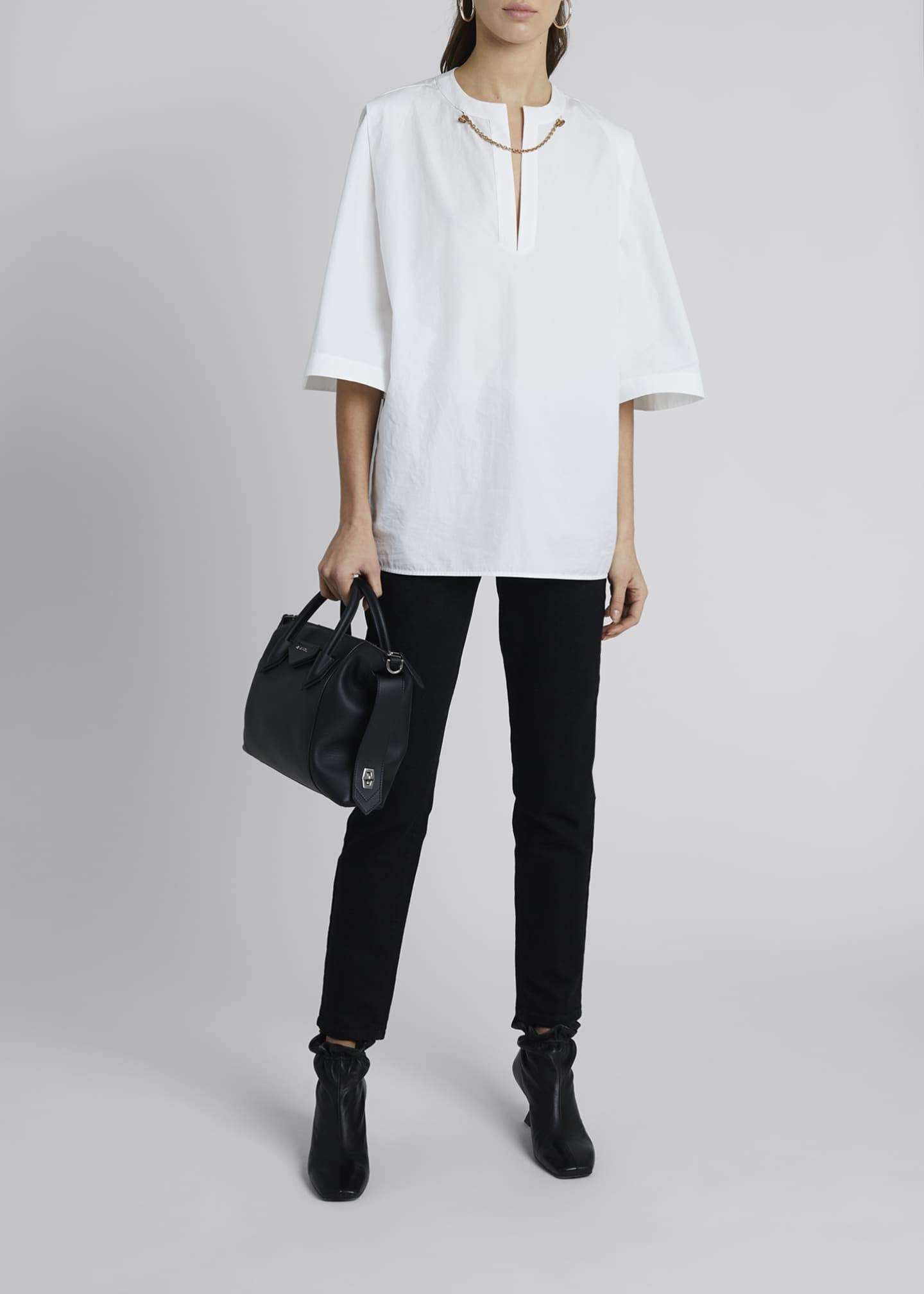 Image 1 of 4: Chain-Neck Poplin Tunic