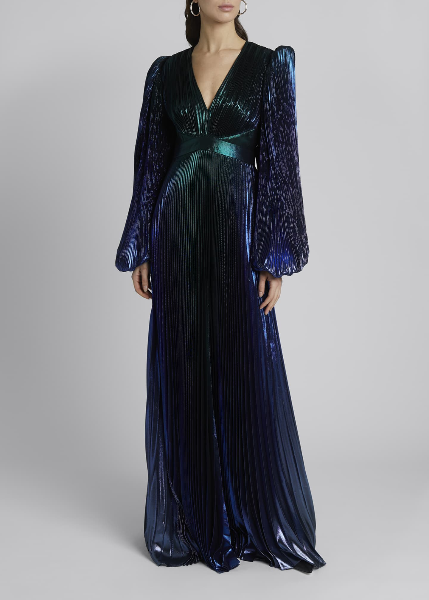 Image 3 of 3: Degrade Metallic V-Neck Puff-Sleeve Gown