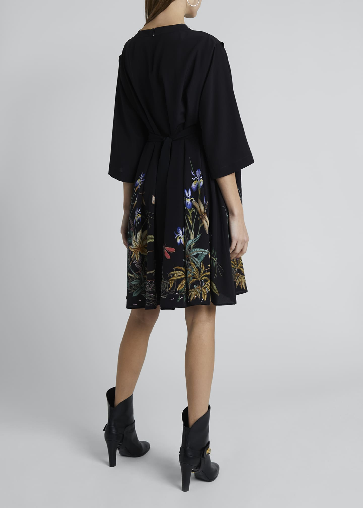 Image 2 of 4: Floral-Hem Silk Cape-Back Shirtdress
