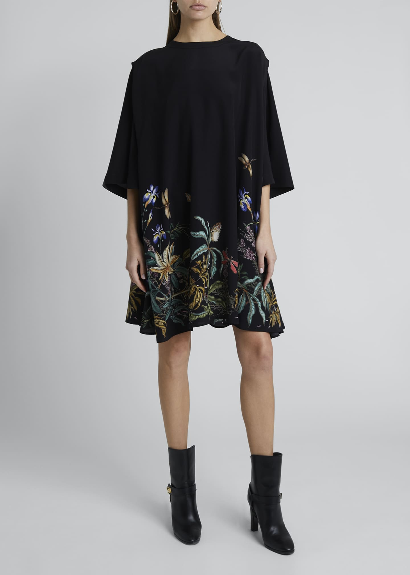 Image 3 of 4: Floral-Hem Silk Cape-Back Shirtdress