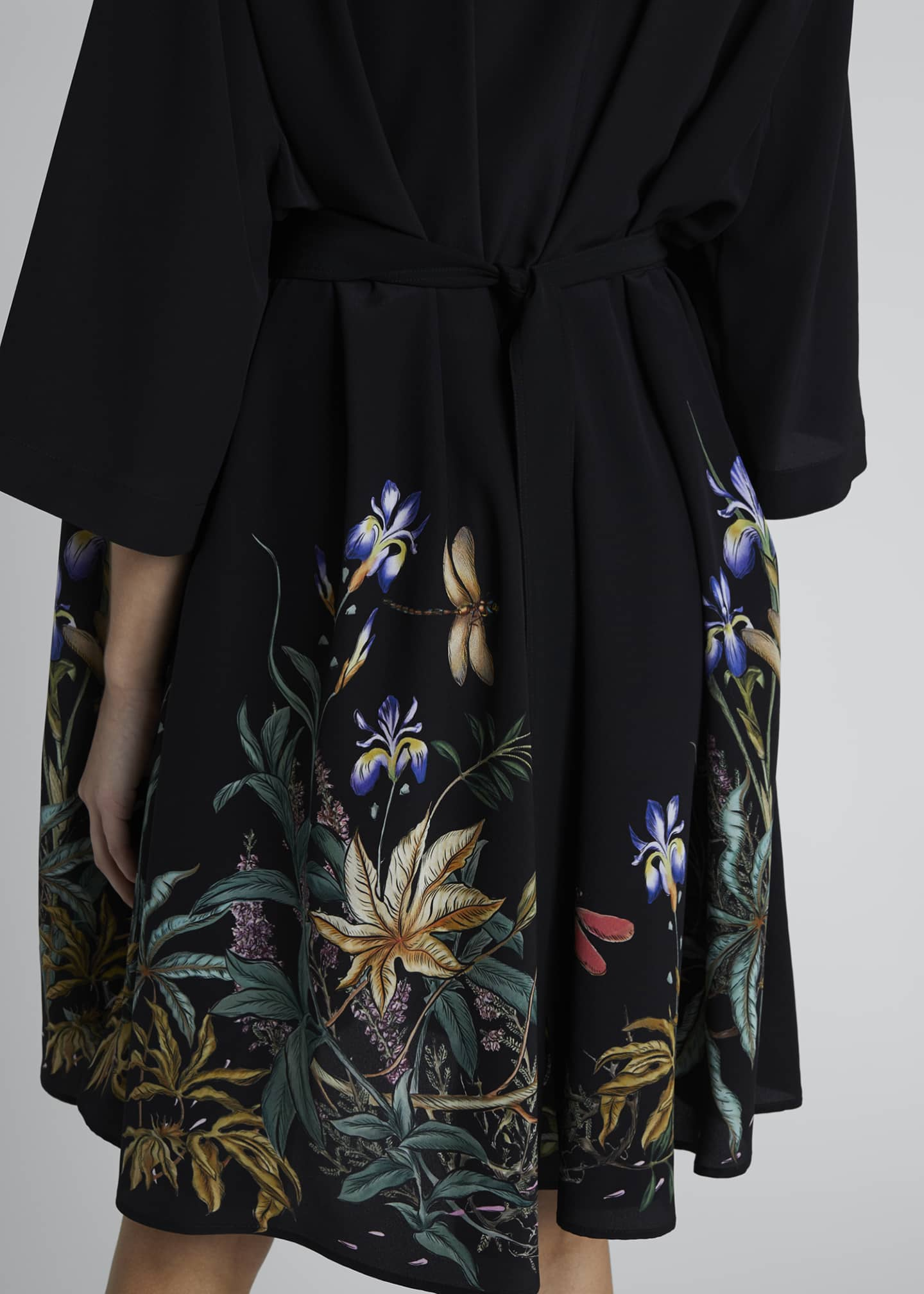 Image 4 of 4: Floral-Hem Silk Cape-Back Shirtdress