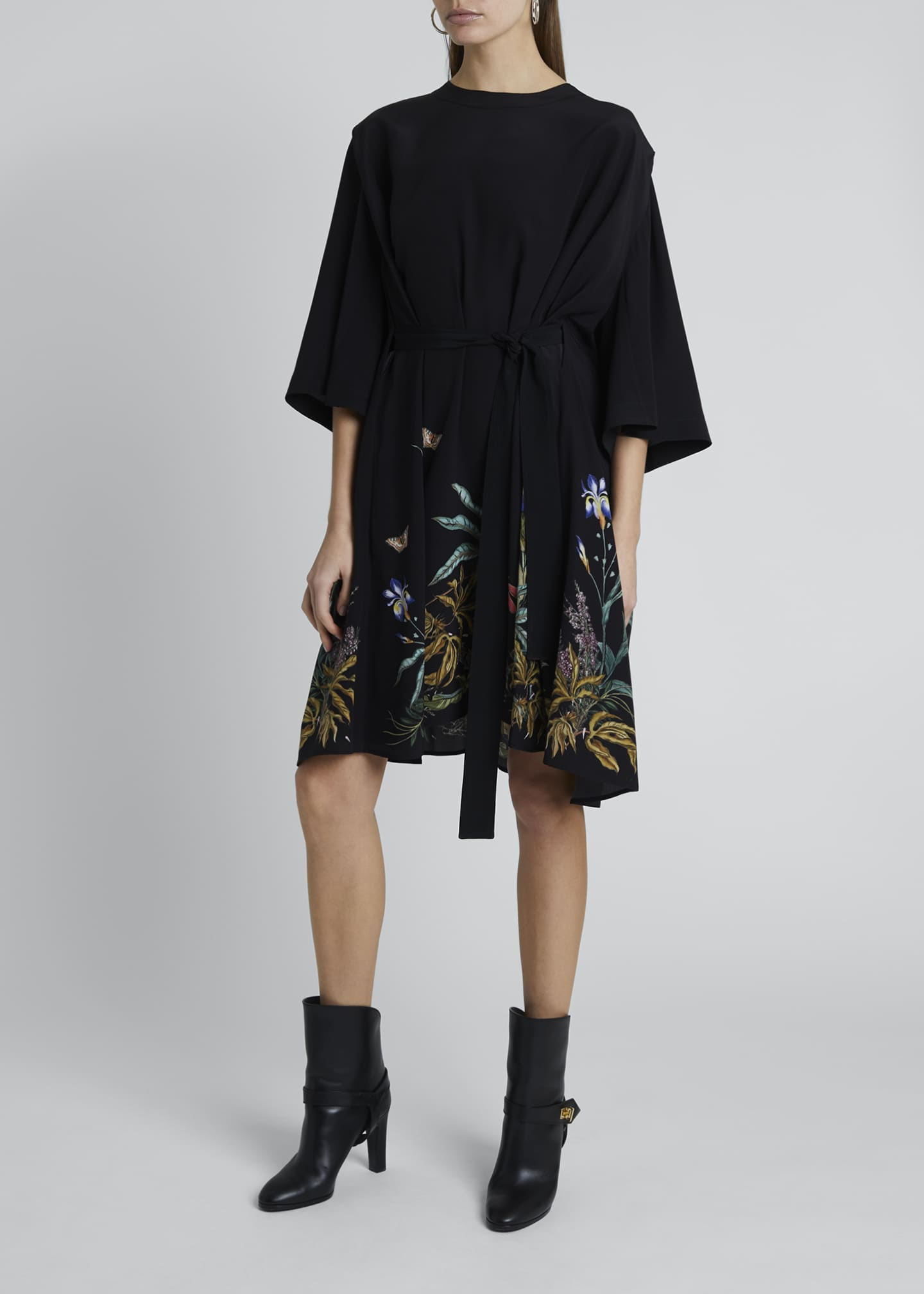 Image 1 of 4: Floral-Hem Silk Cape-Back Shirtdress