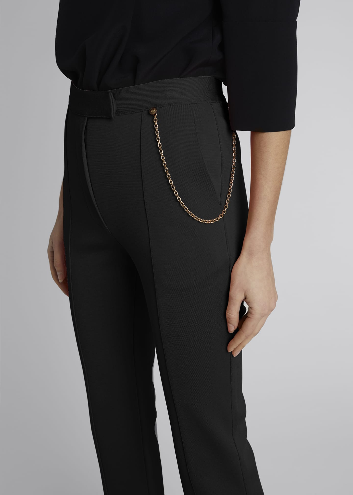 Image 4 of 4: Chain-Detailed Flared Punto Milano Trousers