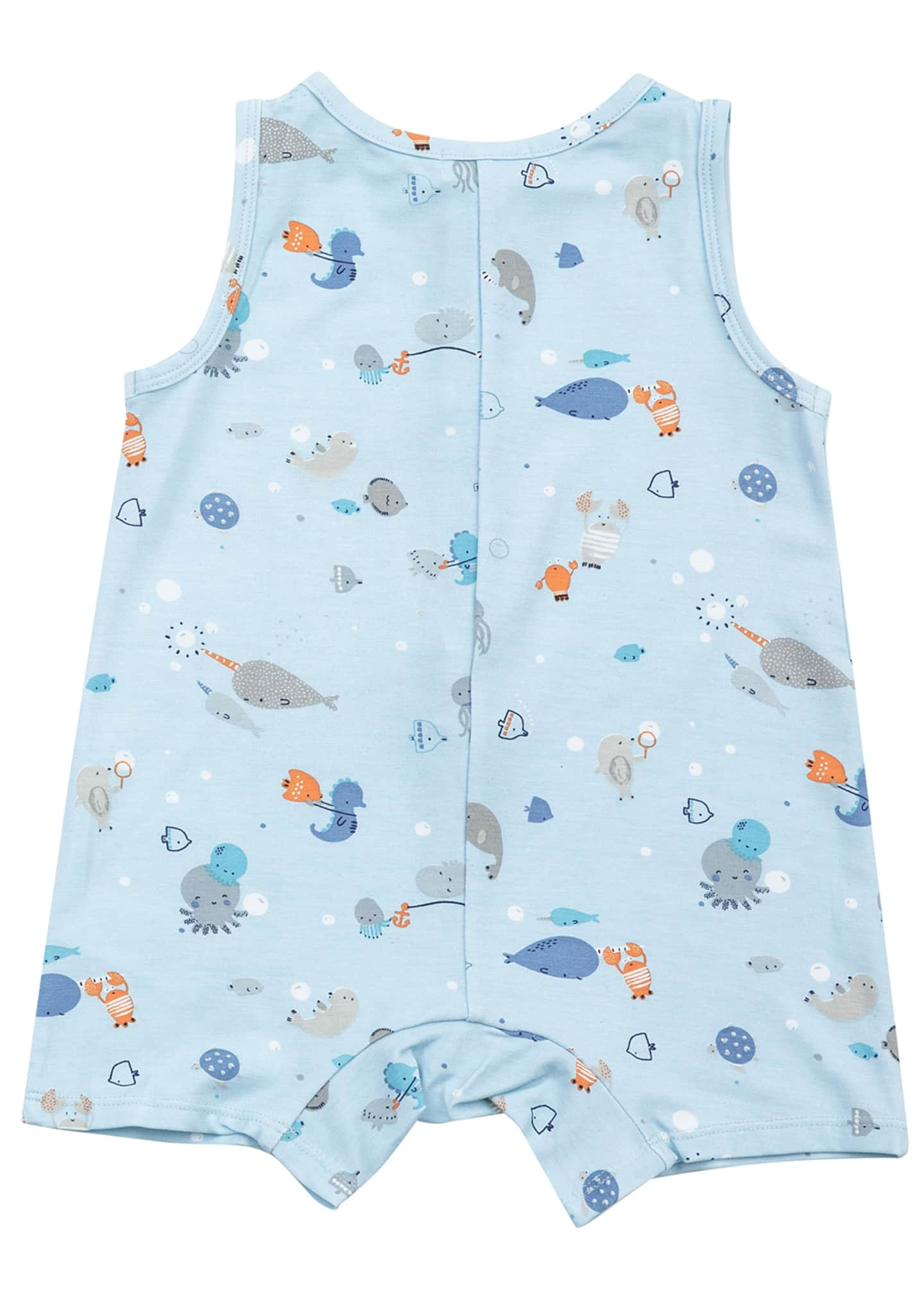Image 2 of 2: Boy's Happy Ocean Sleeveless Shortall, Size 3-24 Months