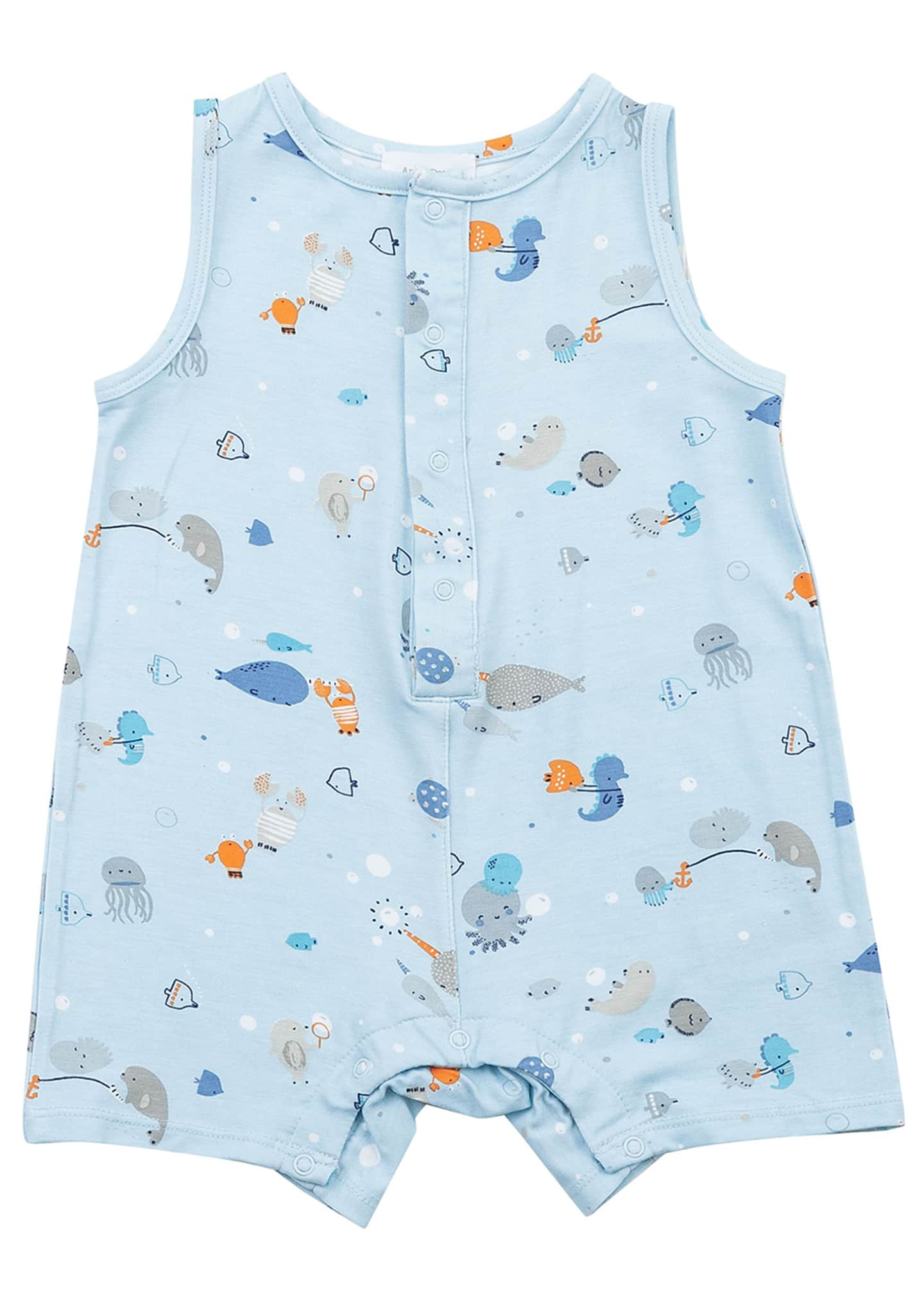Image 1 of 2: Boy's Happy Ocean Sleeveless Shortall, Size 3-24 Months