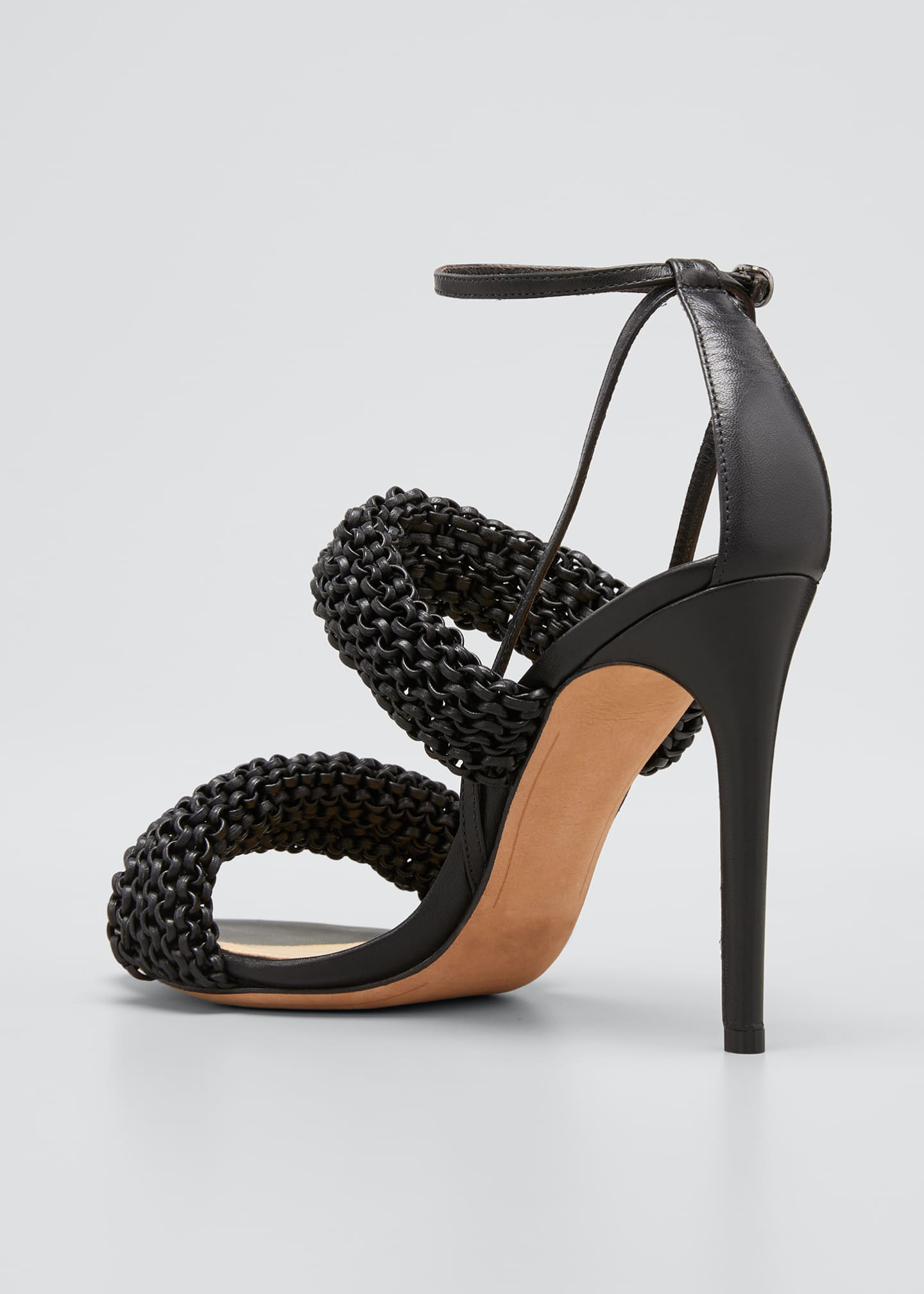 Image 4 of 5: 100mm Alessia Knitted Leather Stiletto Sandals