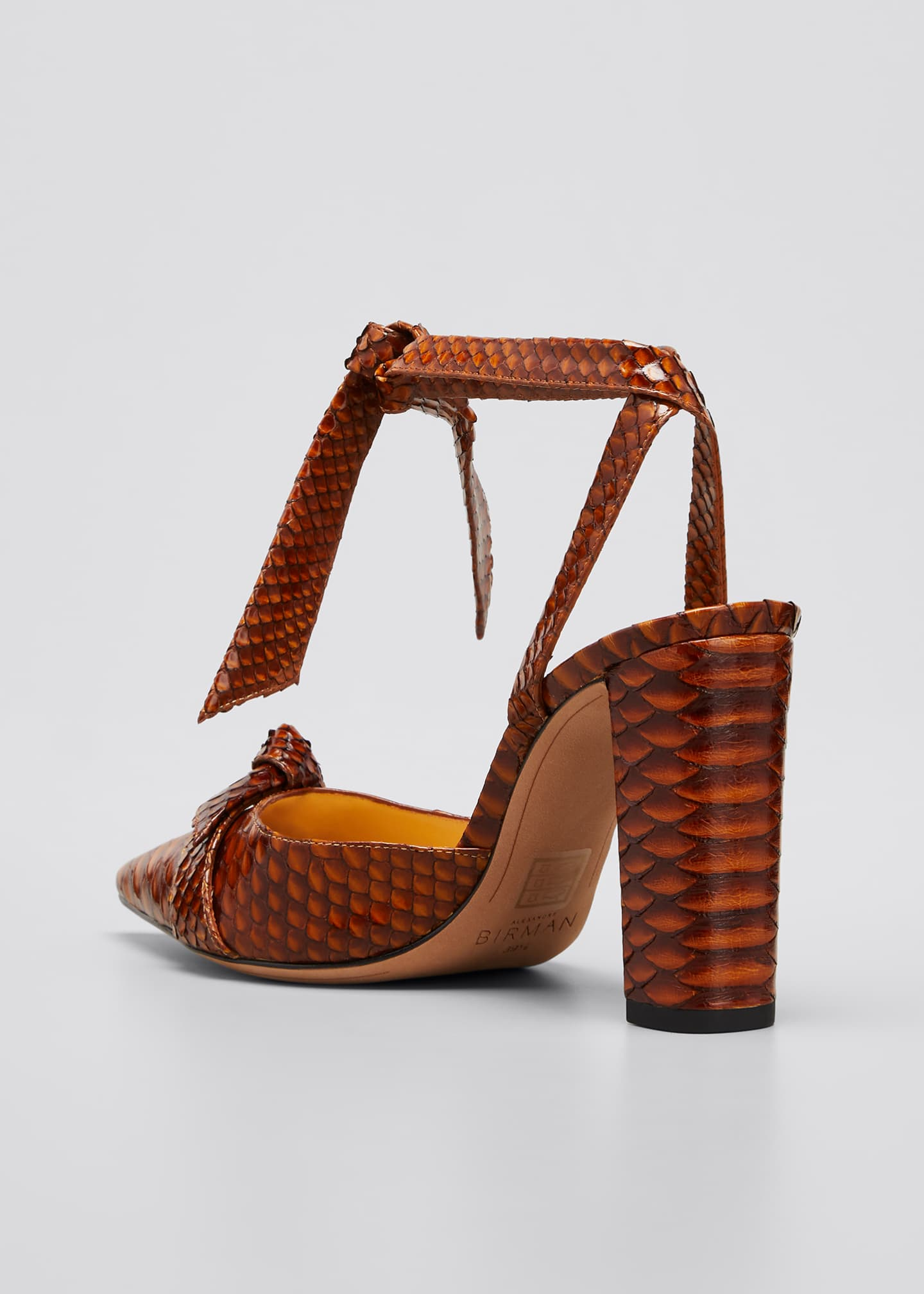 Image 4 of 5: Clarita Ankle-Wrap Python Pumps