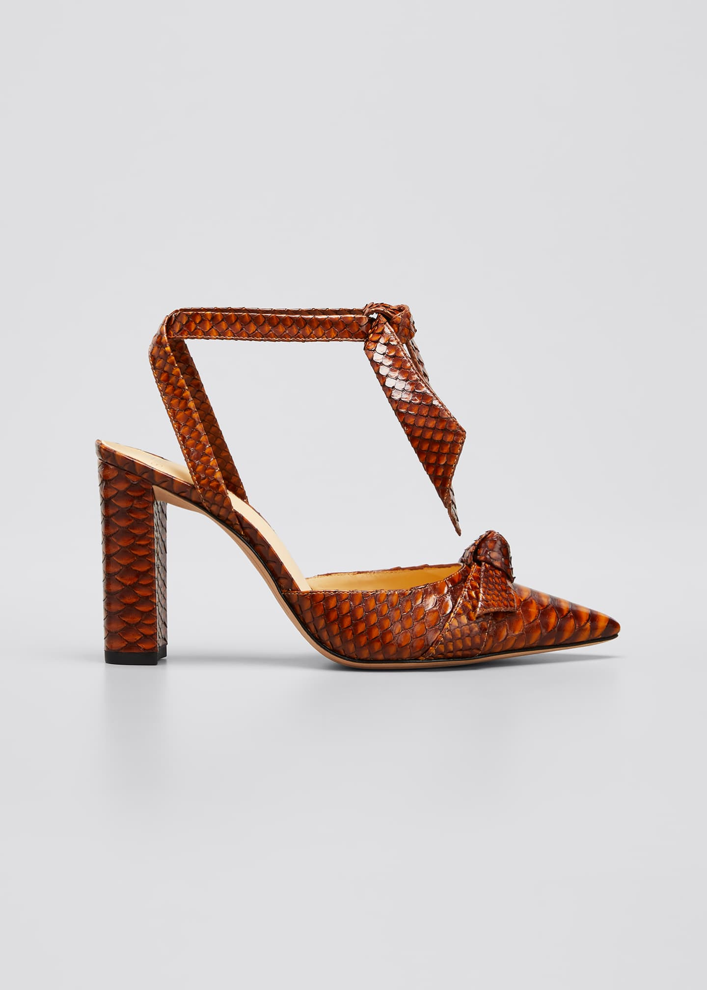 Image 1 of 5: Clarita Ankle-Wrap Python Pumps