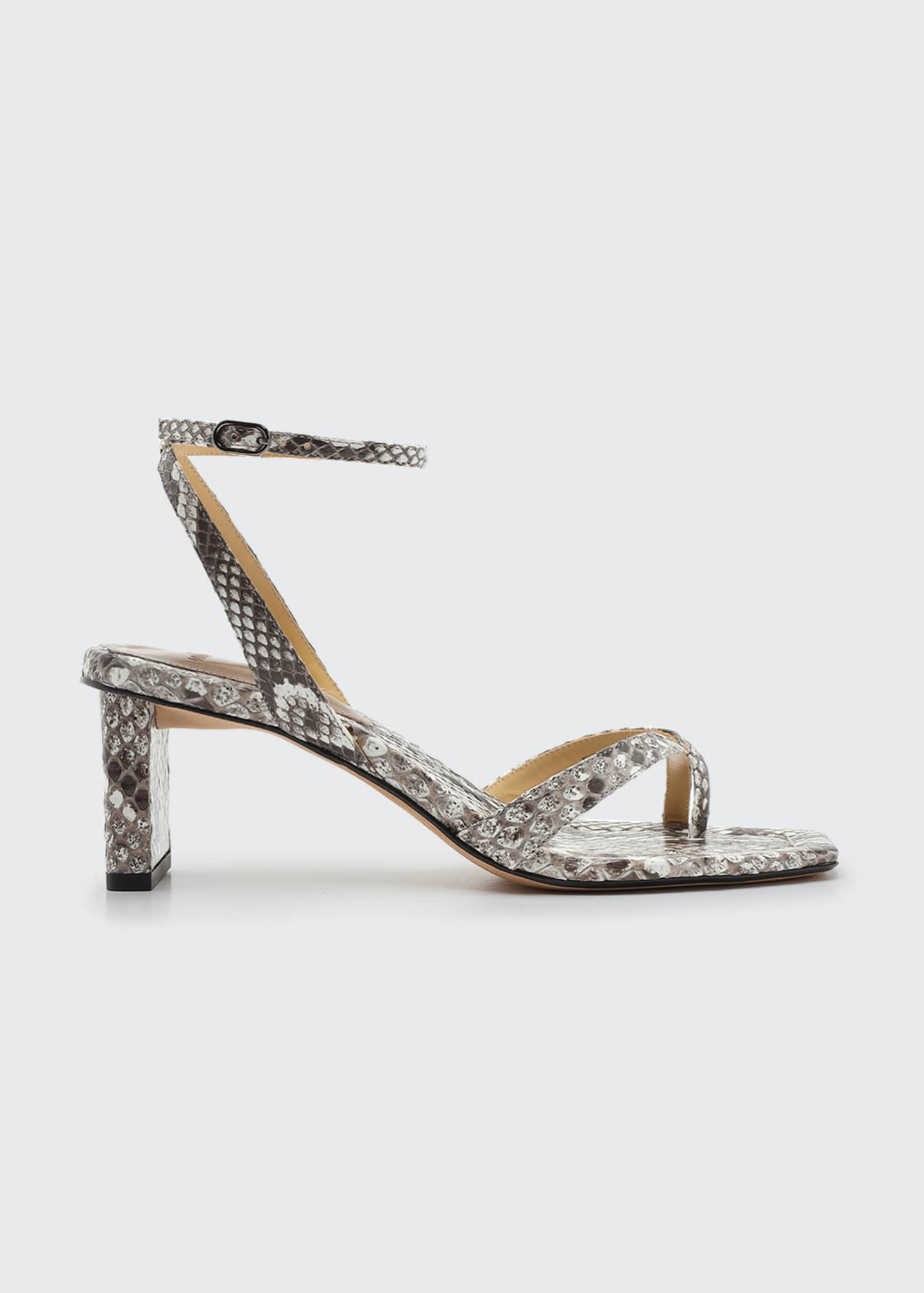 Image 1 of 1: Nelly Python Square-Toe Sandals