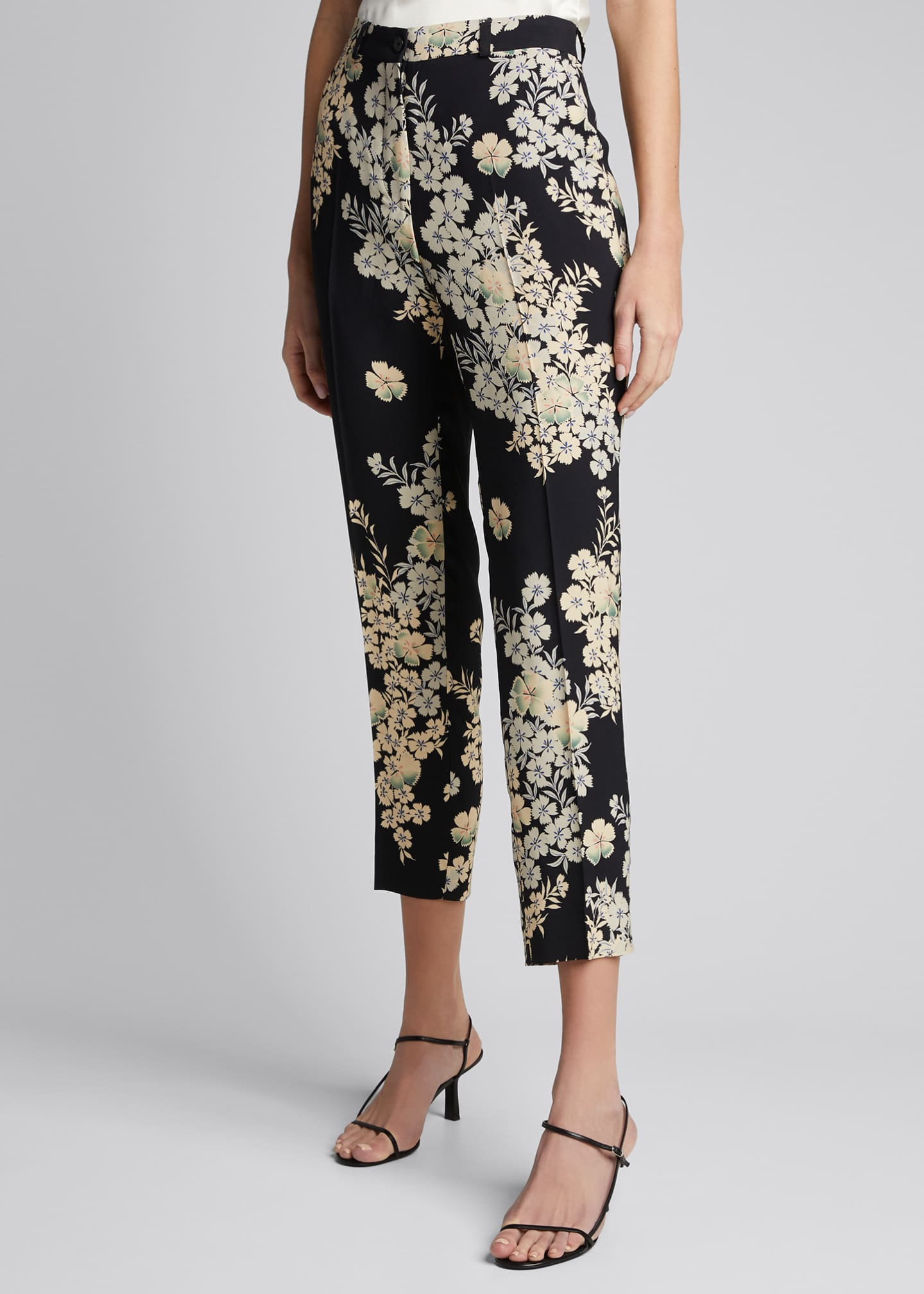 Image 3 of 5: Floating Flowers Printed Cady Trousers