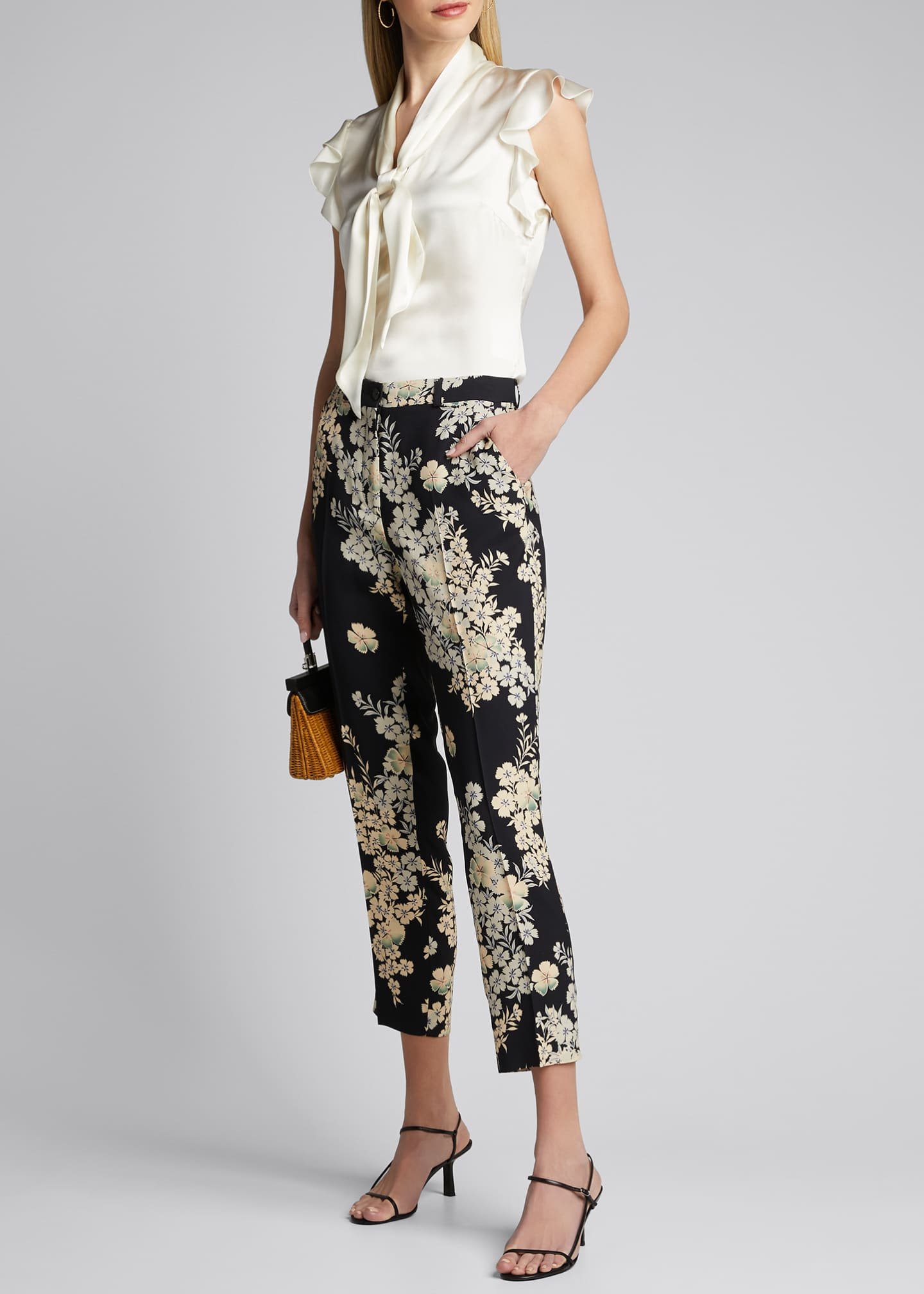 Image 1 of 5: Floating Flowers Printed Cady Trousers