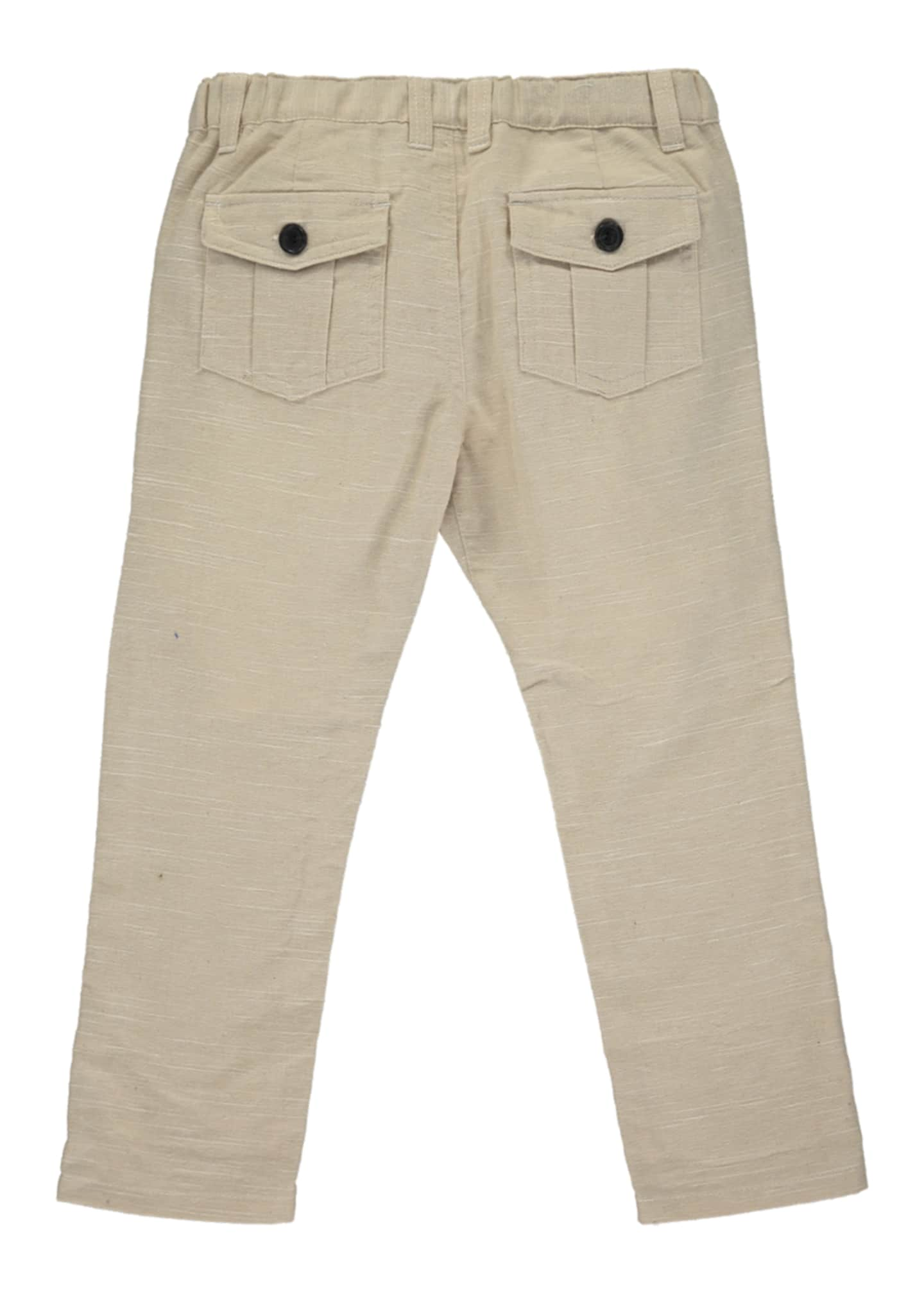 Image 2 of 2: Boy's Stone Twill Trousers w/ Children's Book, Size 6-24 Months