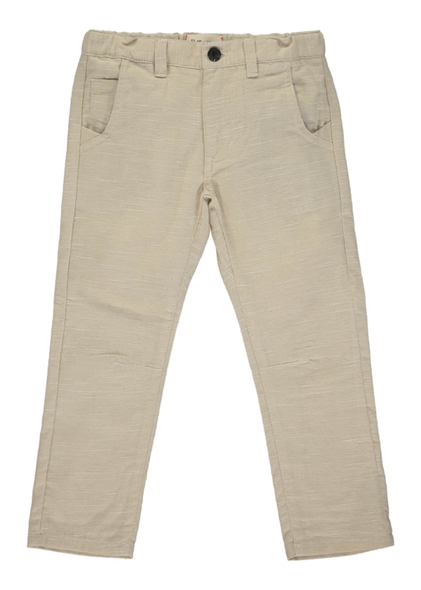 Image 1 of 2: Boy's Stone Twill Trousers w/ Children's Book, Size 6-24 Months