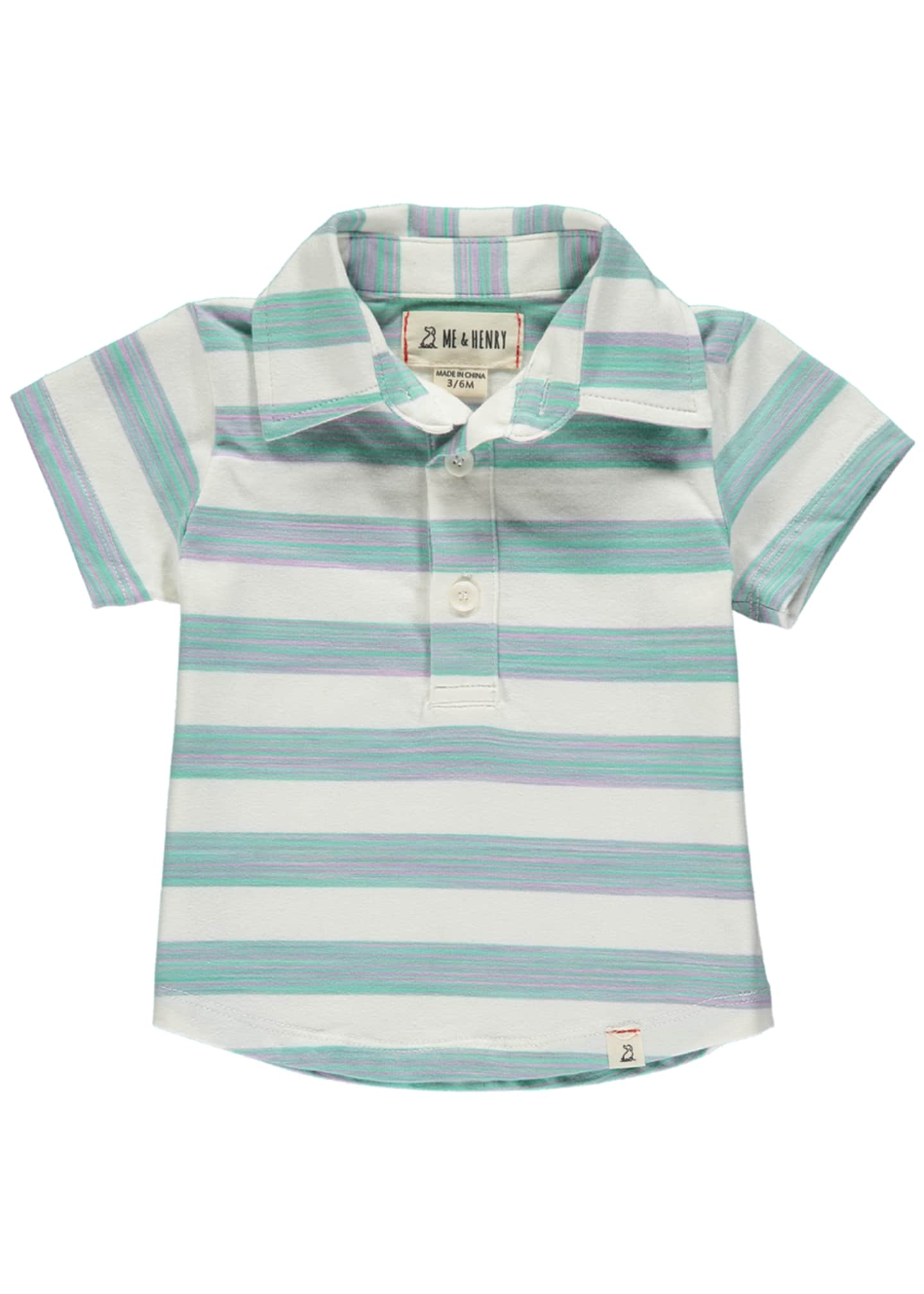 Image 1 of 1: Boy's Striped Cotton Polo Shirt w/ Children's Book, 6-24 Months