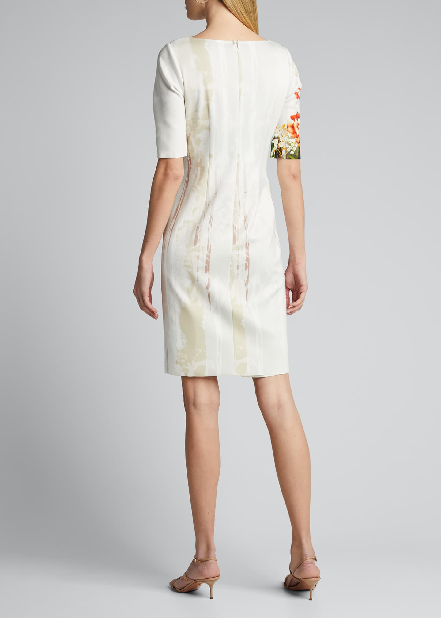 Image 2 of 5: Border Floral Print Elbow-Sleeve Scuba Dress