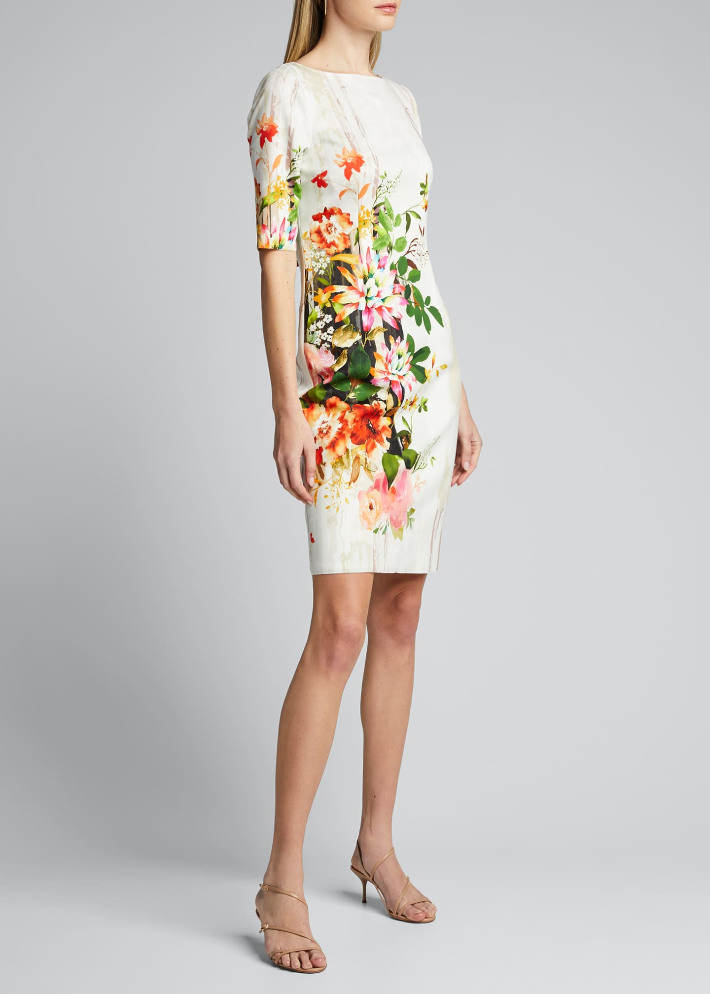 Image 3 of 5: Border Floral Print Elbow-Sleeve Scuba Dress