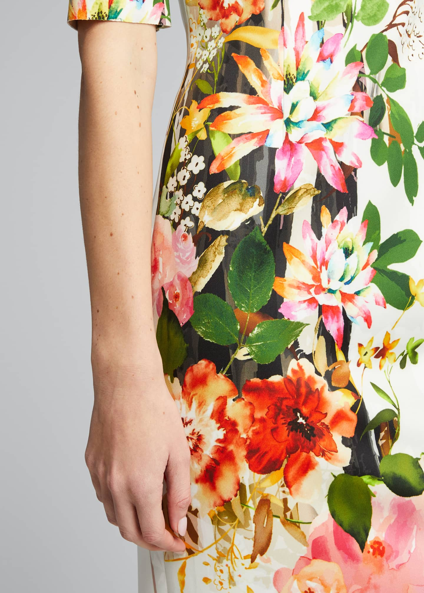 Image 4 of 5: Border Floral Print Elbow-Sleeve Scuba Dress