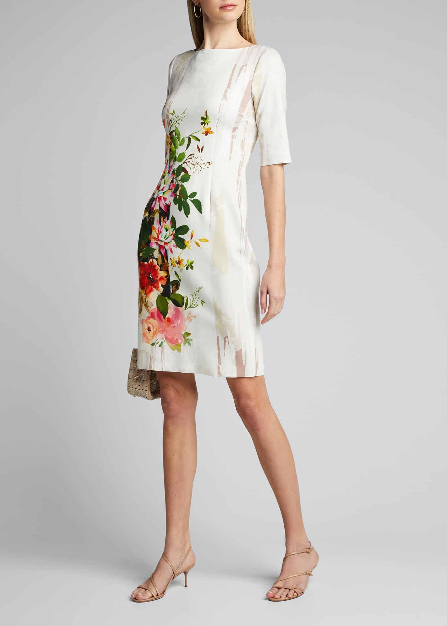 Image 1 of 5: Border Floral Print Elbow-Sleeve Scuba Dress