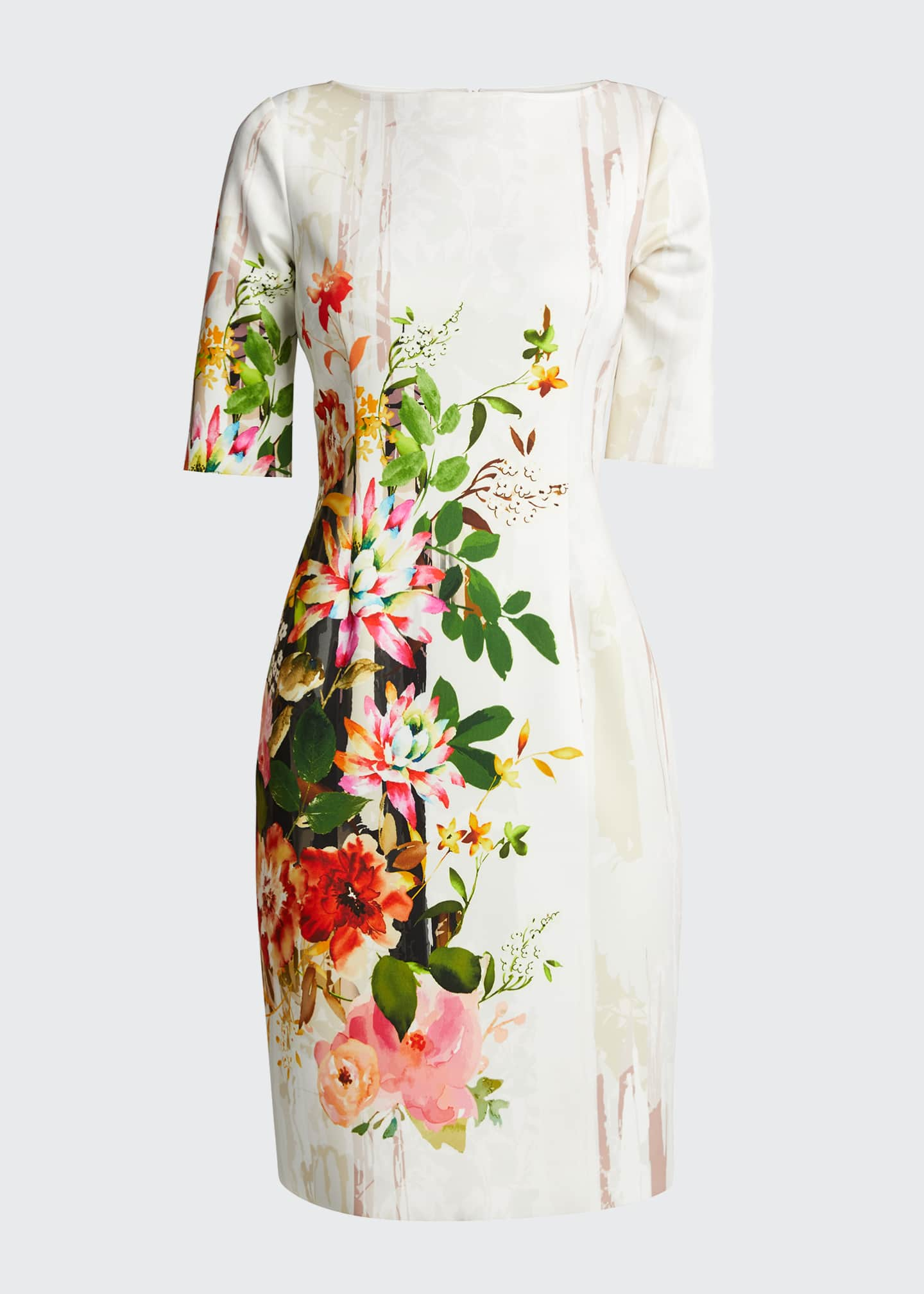 Image 5 of 5: Border Floral Print Elbow-Sleeve Scuba Dress