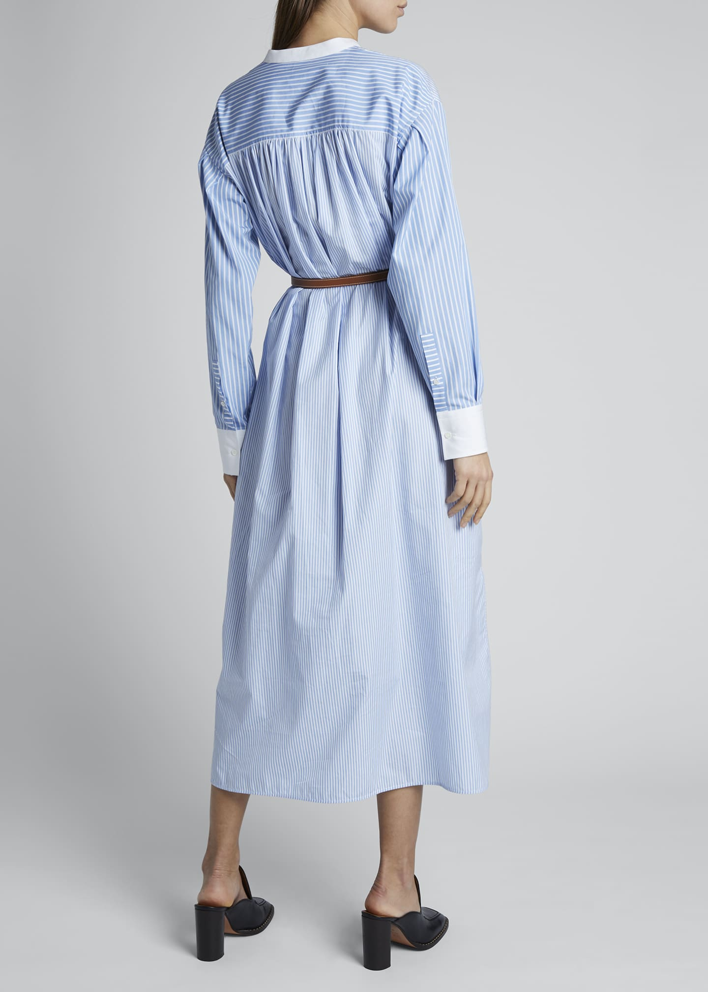 Image 2 of 4: Striped Cotton Shirtdress with Leather Belt