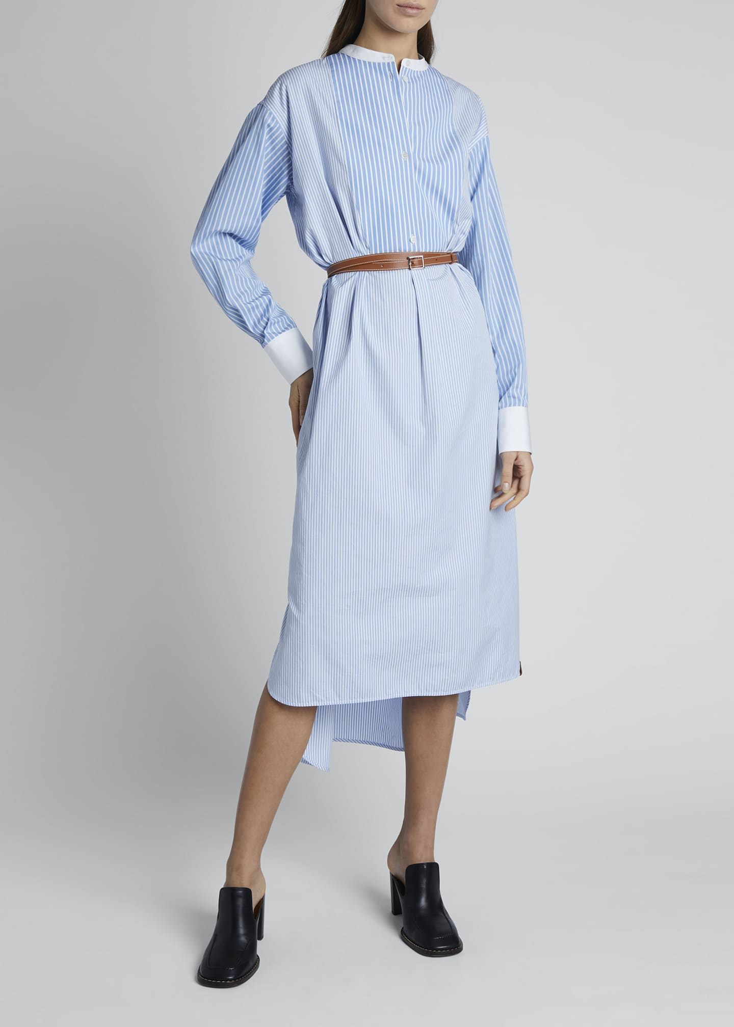 Image 3 of 4: Striped Cotton Shirtdress with Leather Belt