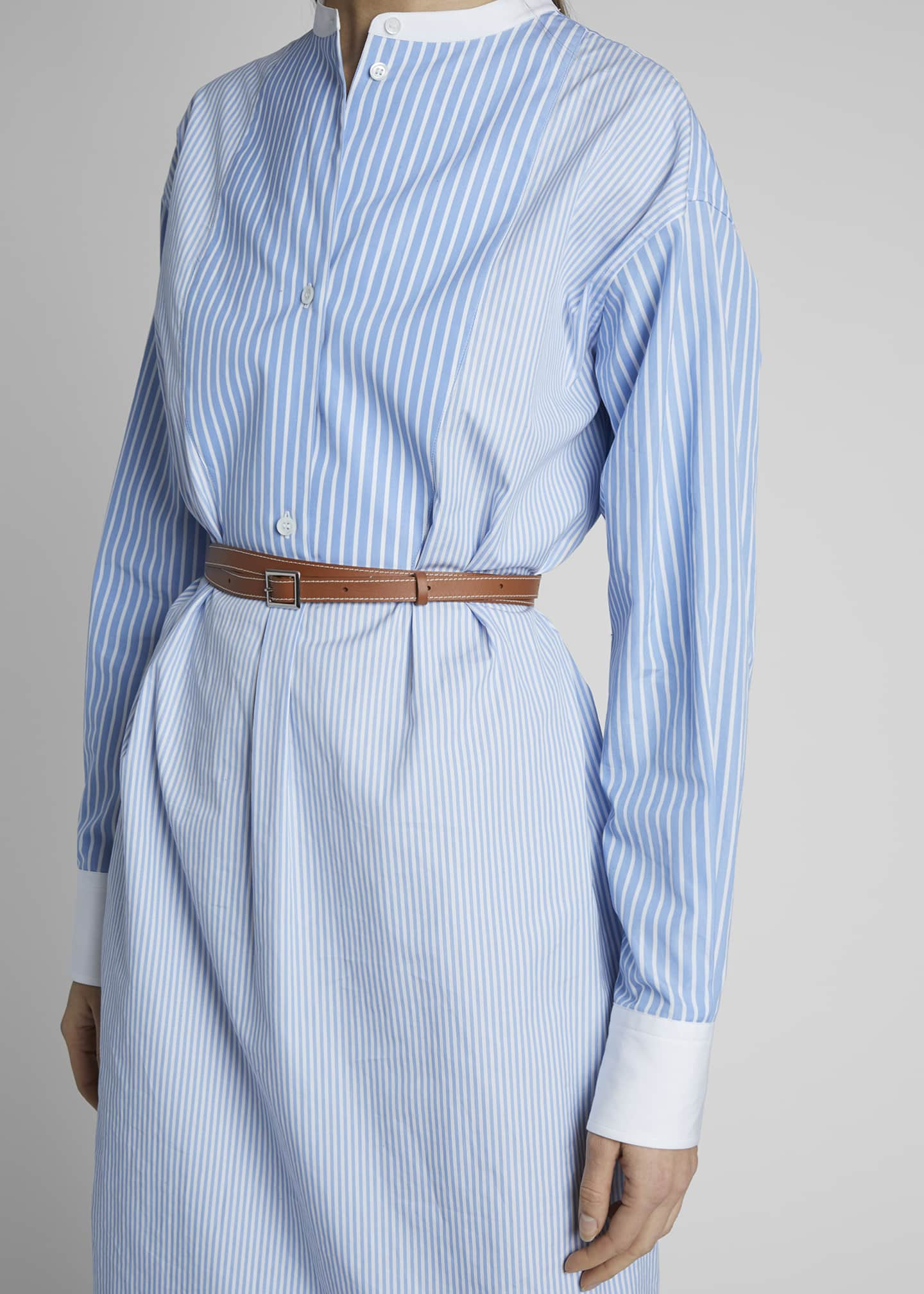 Image 4 of 4: Striped Cotton Shirtdress with Leather Belt