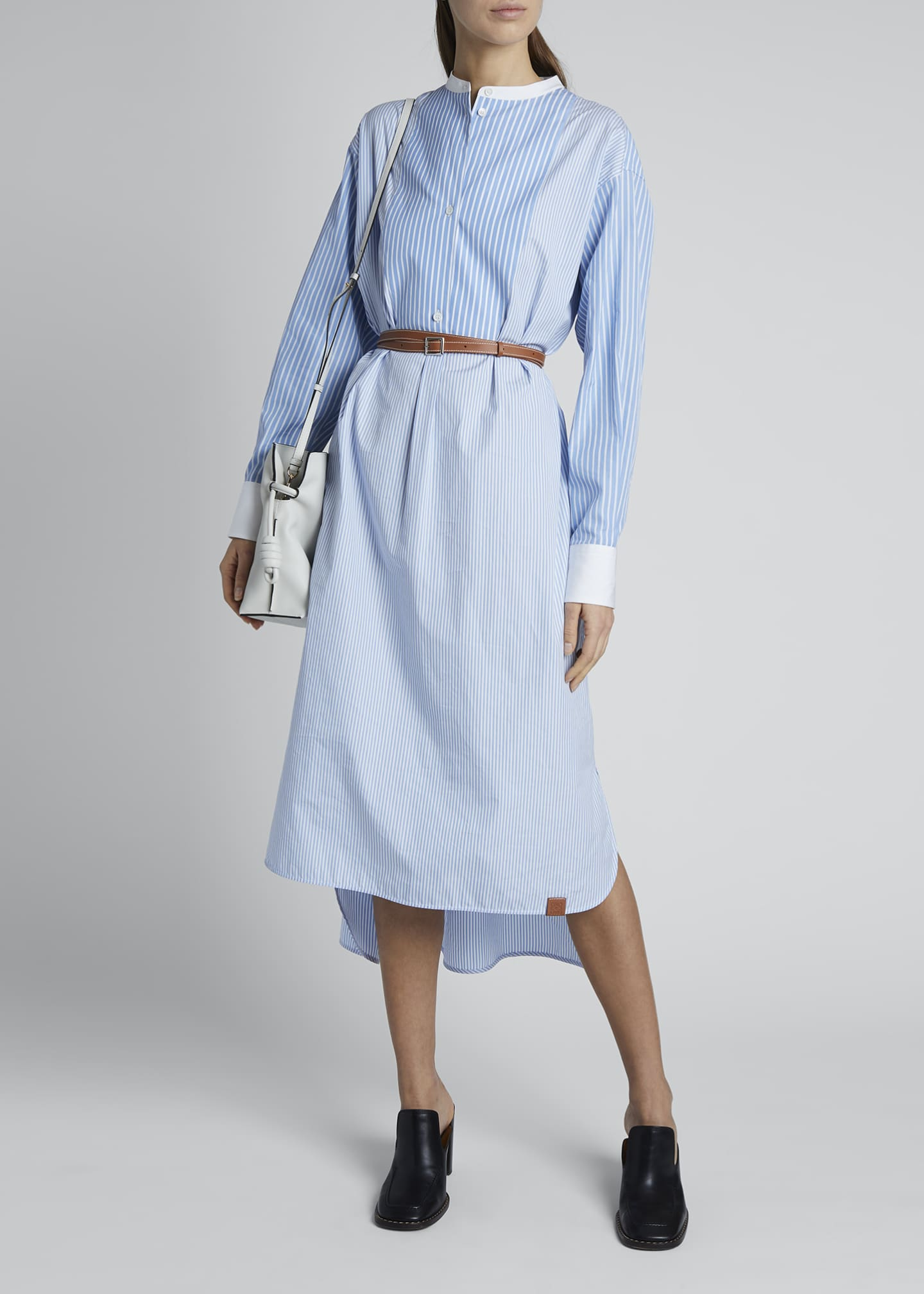 Image 1 of 4: Striped Cotton Shirtdress with Leather Belt