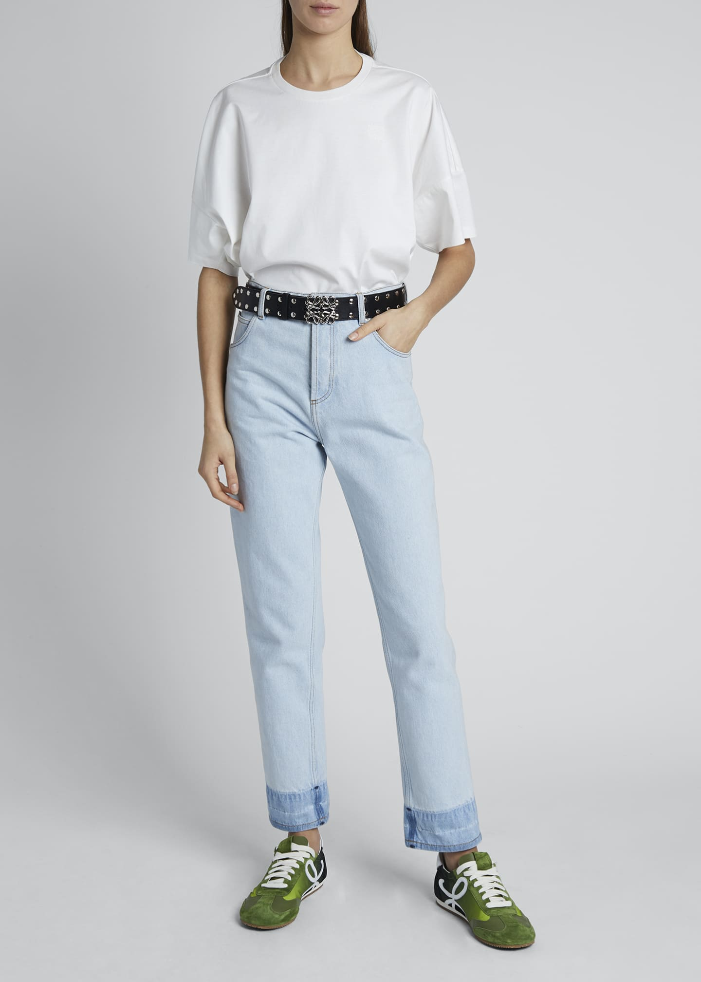 Image 1 of 4: High-Rise Straight-Leg Jeans