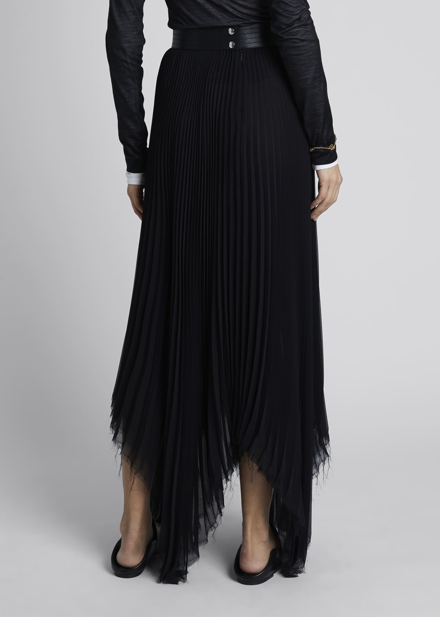 Image 2 of 4: Pleated Asymmetric Midi Skirt with Leather Trim