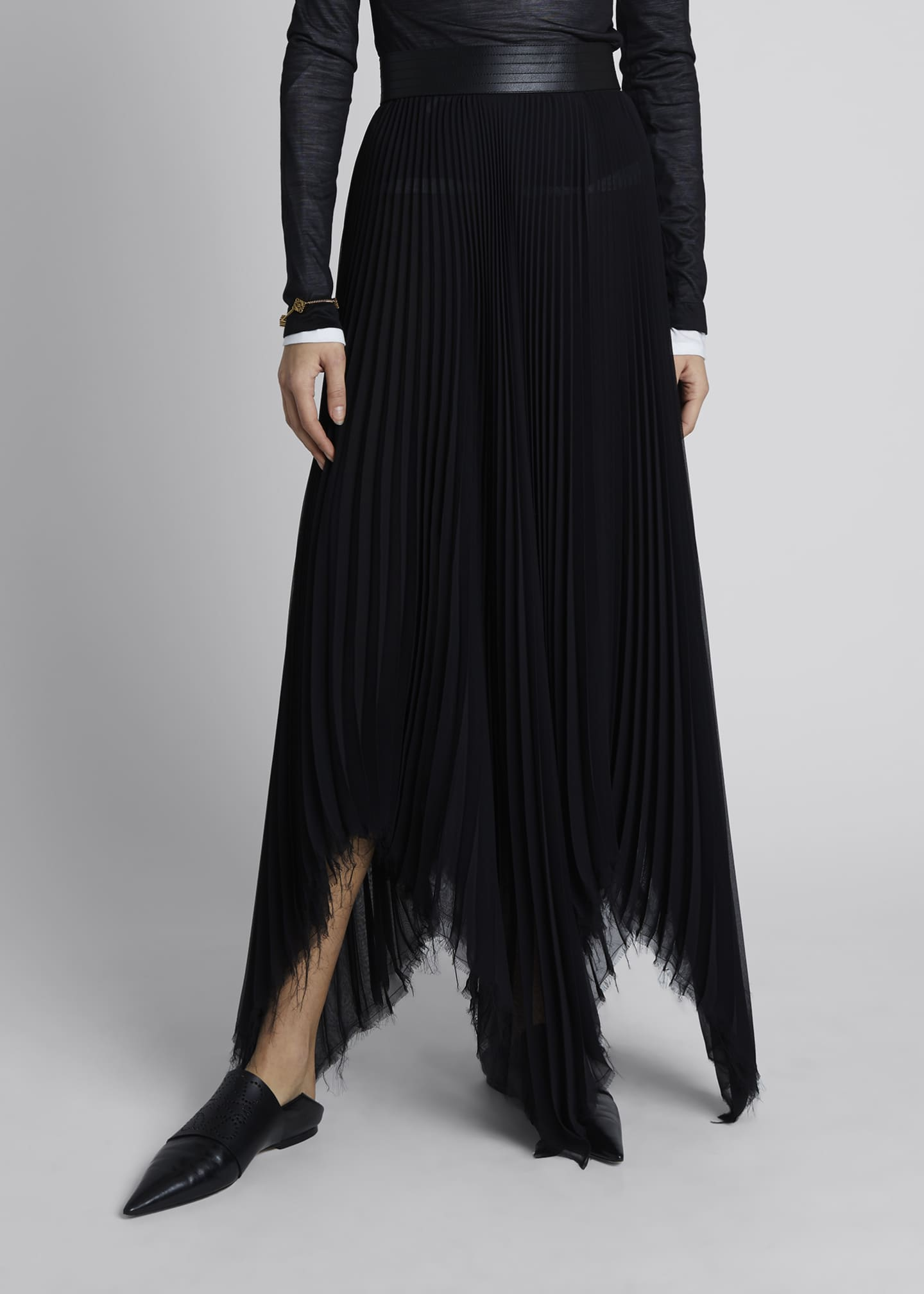 Image 3 of 4: Pleated Asymmetric Midi Skirt with Leather Trim