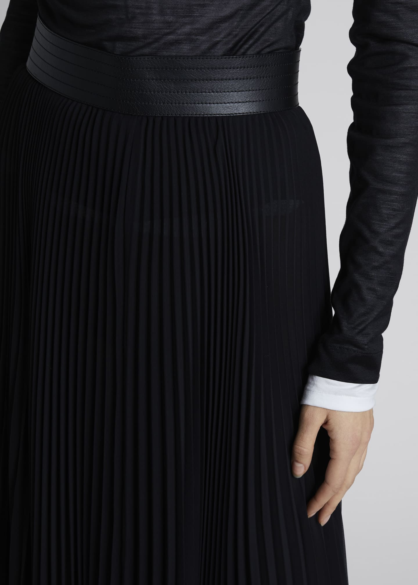 Image 4 of 4: Pleated Asymmetric Midi Skirt with Leather Trim