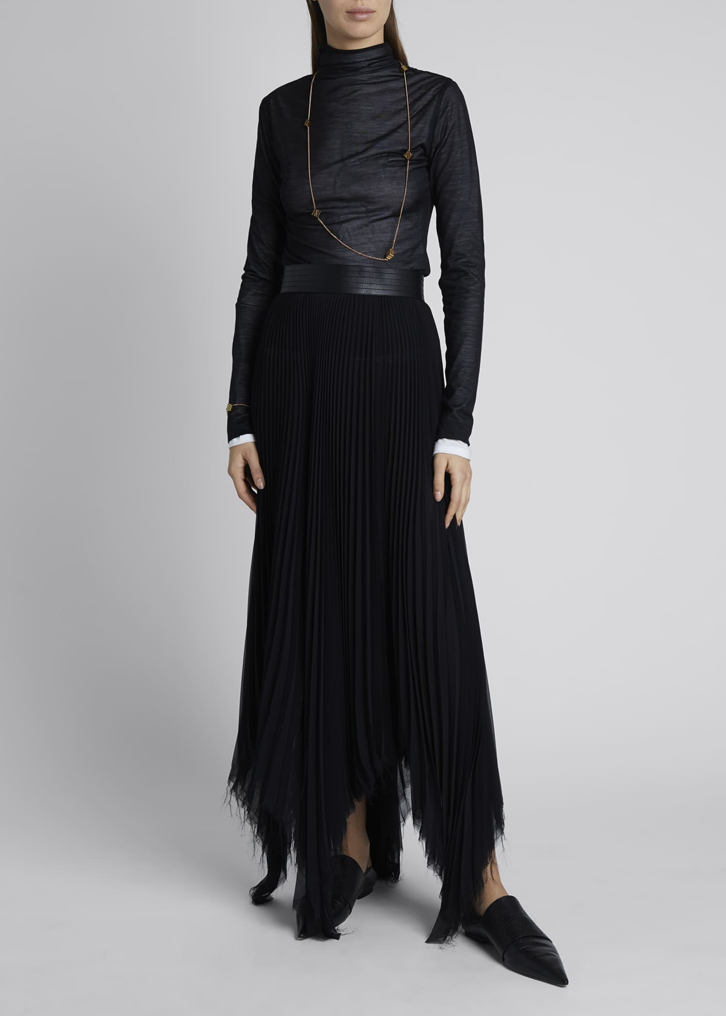 Image 1 of 4: Pleated Asymmetric Midi Skirt with Leather Trim