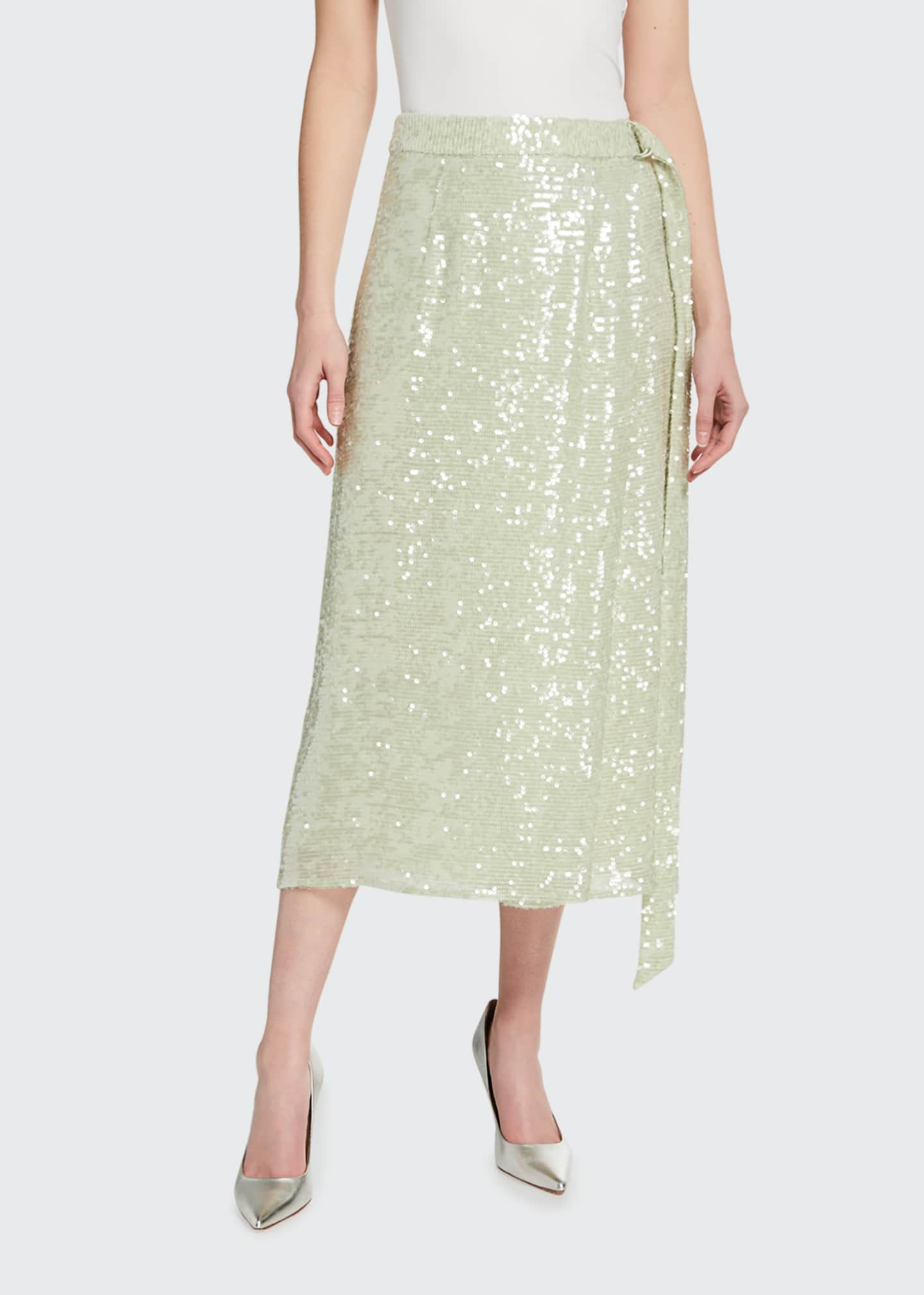 Image 1 of 3: Sequined Viscose Belted Wrap Skirt
