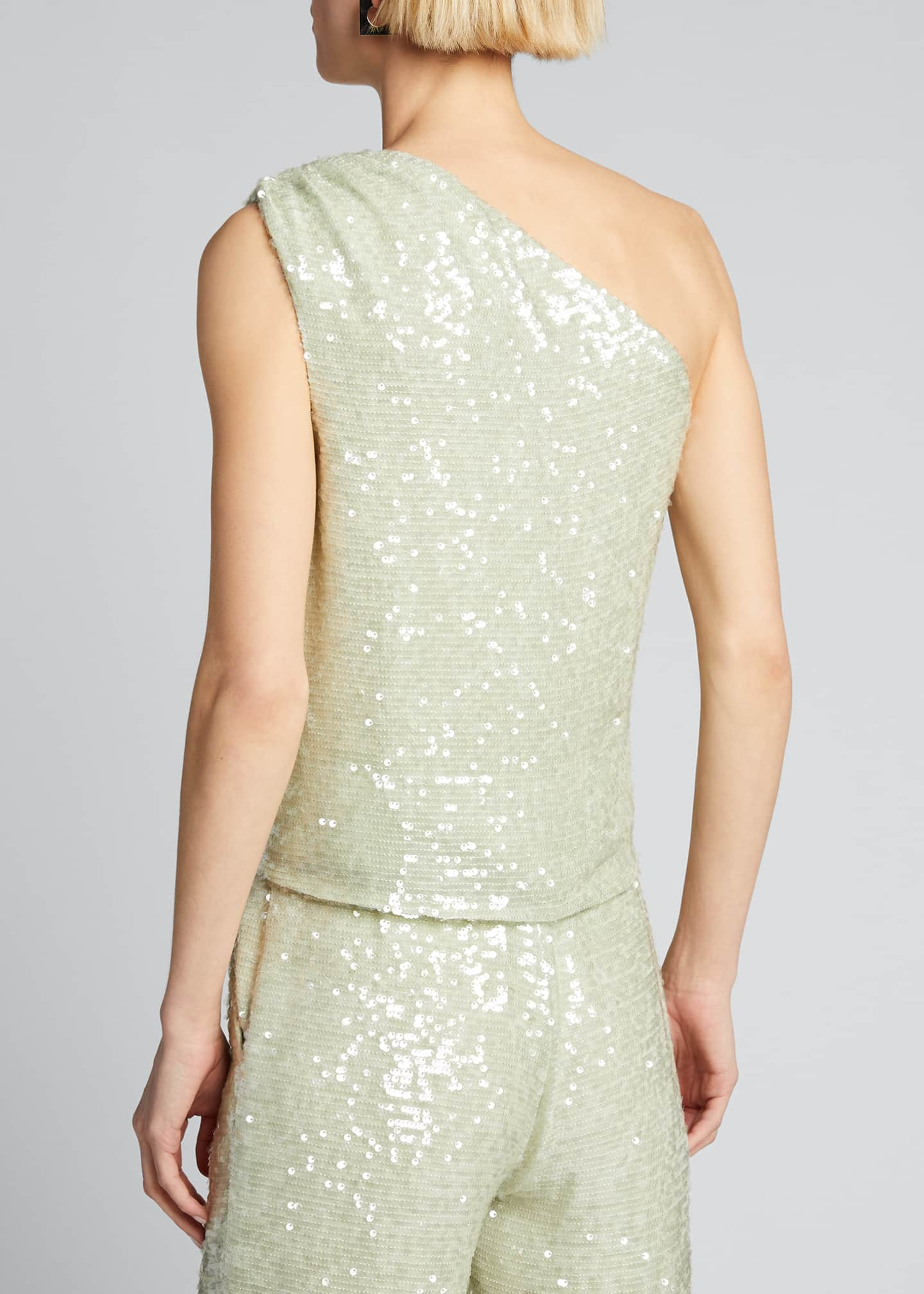 Image 2 of 5: Sequined Jersey Asymmetric Top