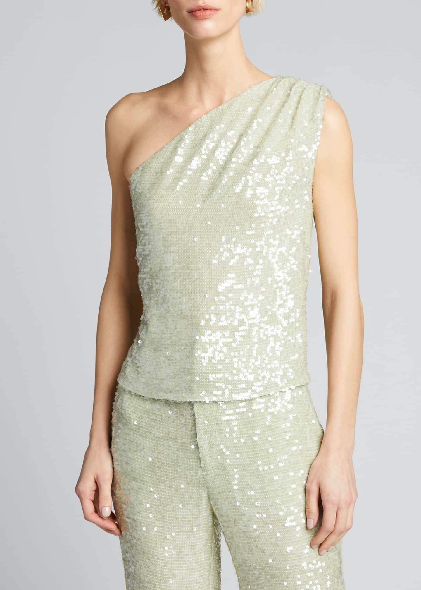 Image 3 of 5: Sequined Jersey Asymmetric Top
