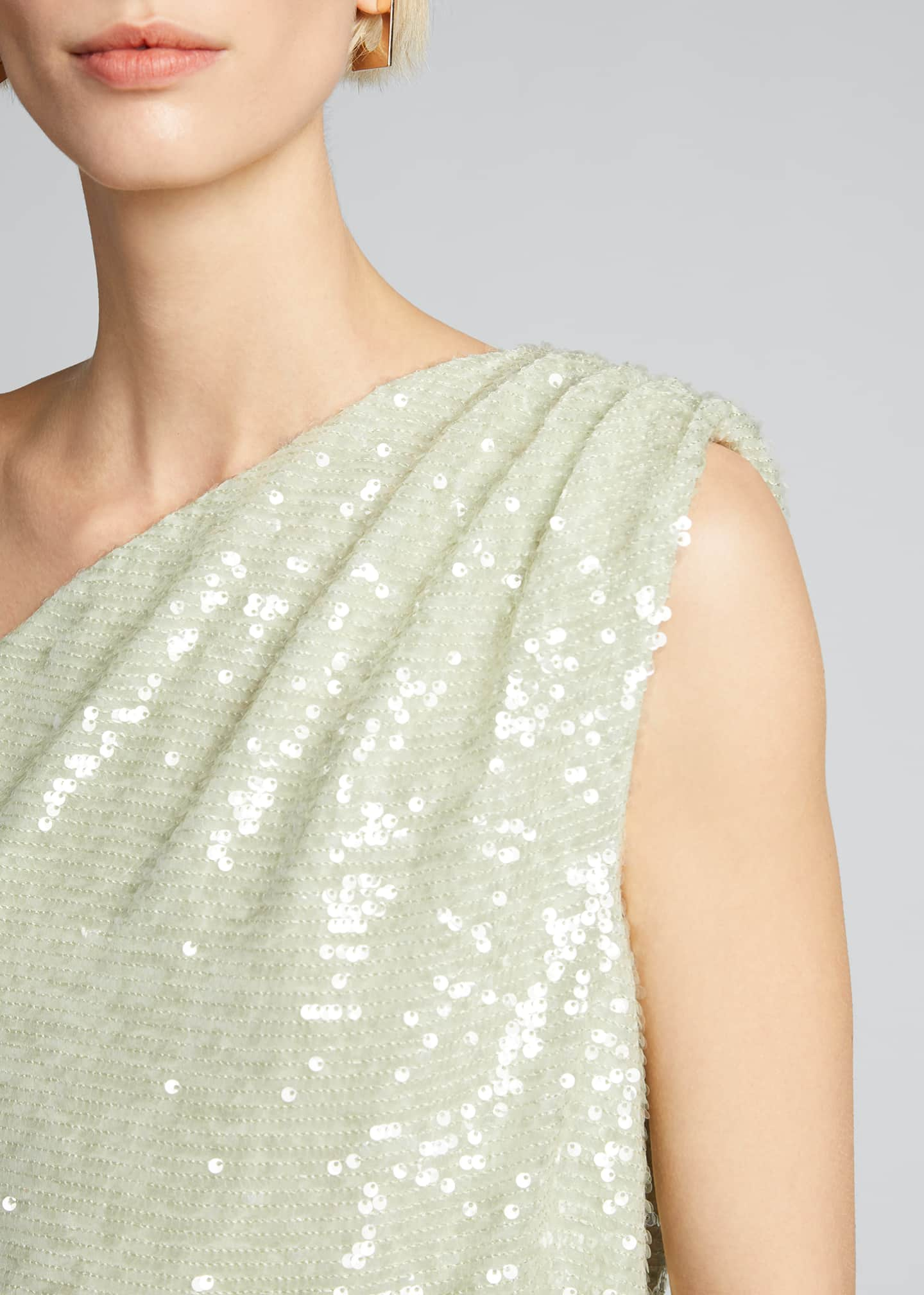 Image 4 of 5: Sequined Jersey Asymmetric Top