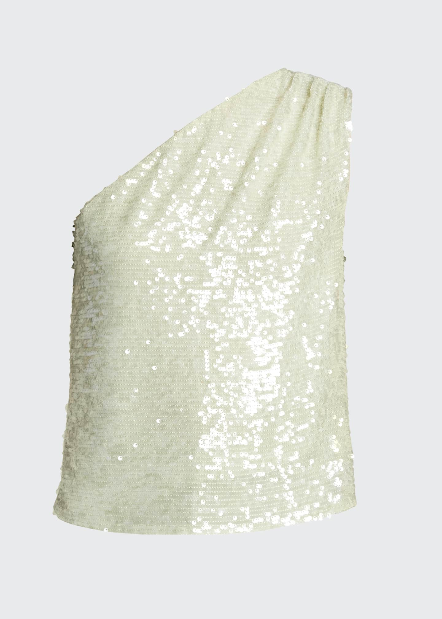 Image 5 of 5: Sequined Jersey Asymmetric Top