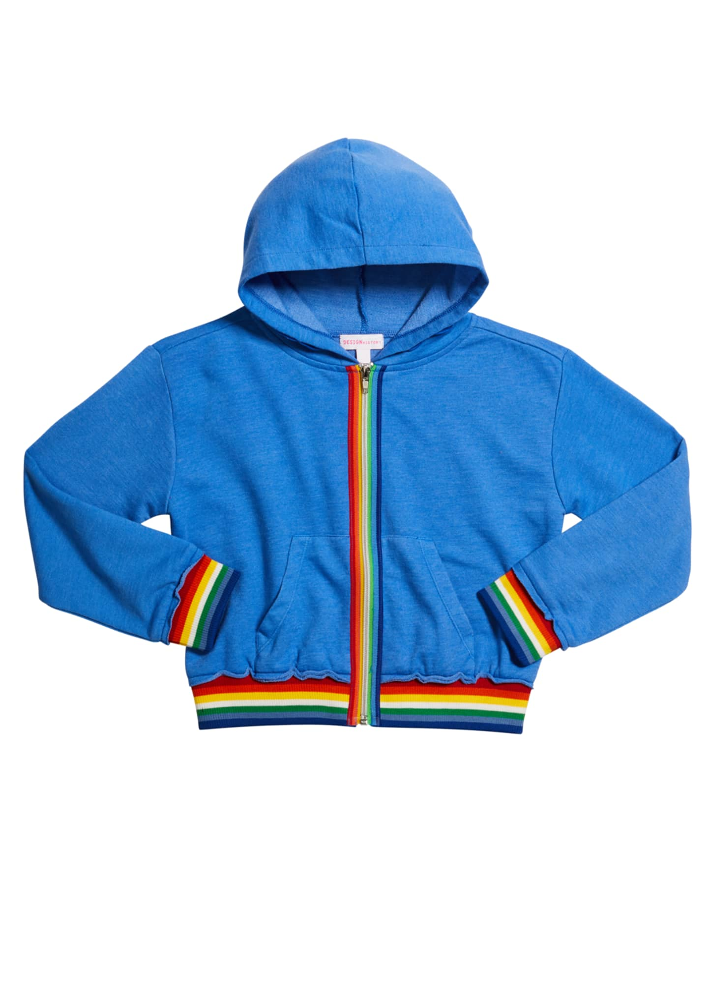 Image 1 of 1: Girl's Rainbow Tape Zip-Front Hoodie, Size S-XL