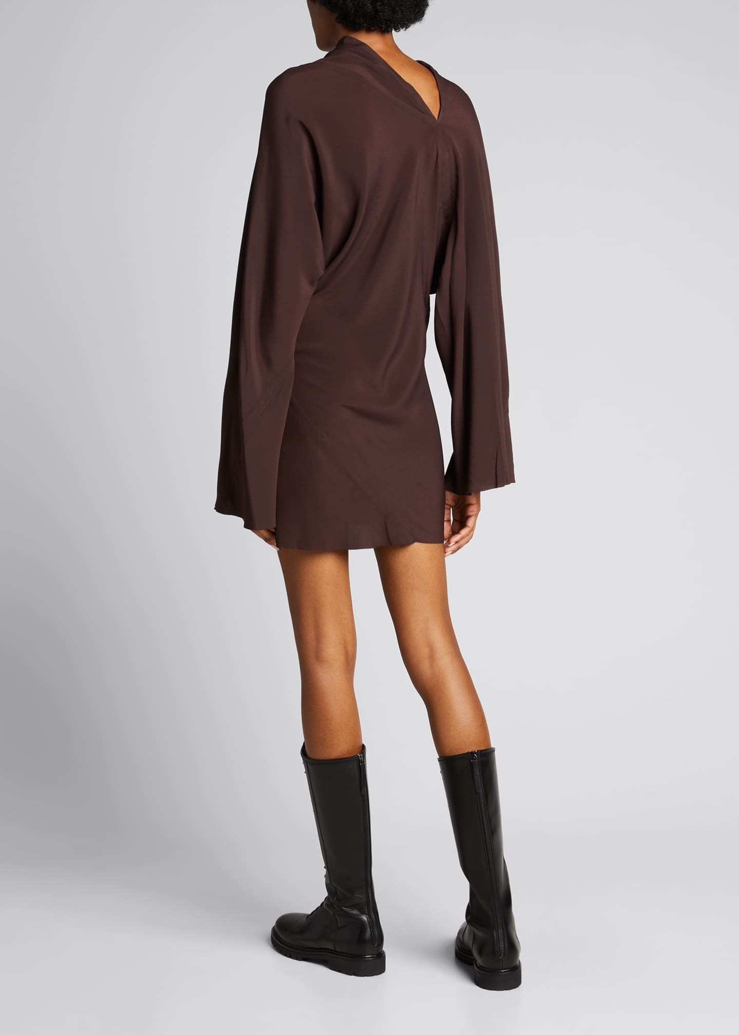 Image 2 of 4: Cocoon Crepe Draped Mini Dress