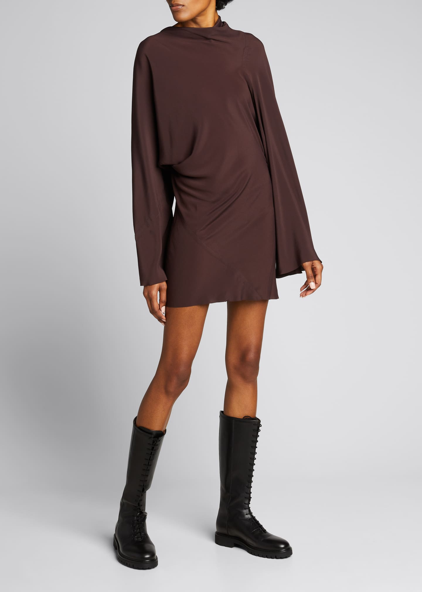 Image 1 of 4: Cocoon Crepe Draped Mini Dress
