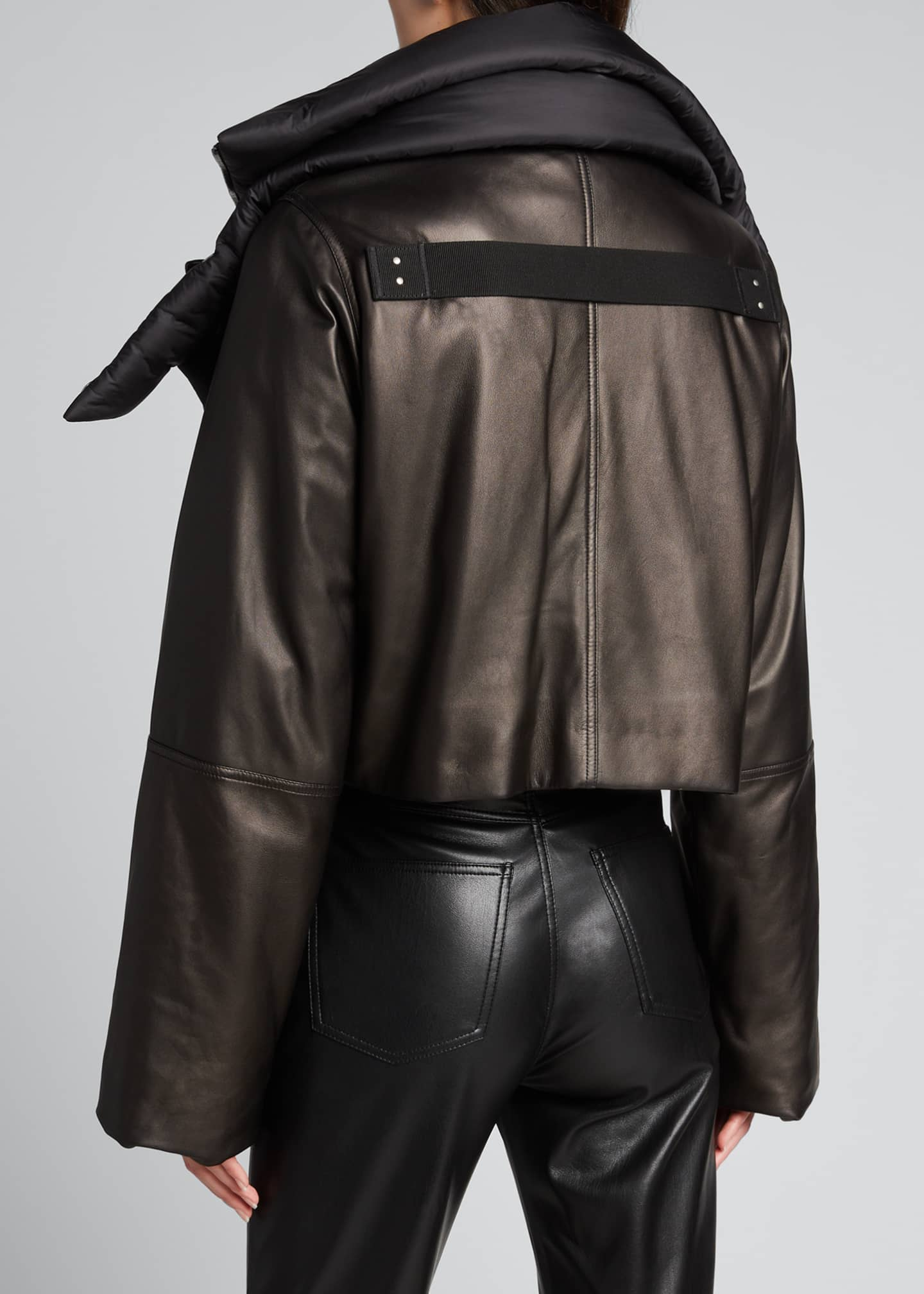 Image 2 of 5: Leather Puffer-Neck Jacket